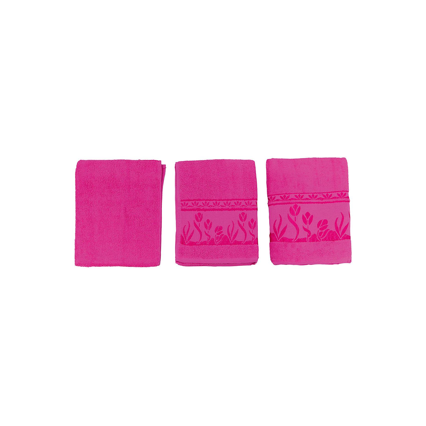 Комплект из 3 махровых полотенец Tulips, Португалия, ярко-розовыйКомплект махровых полотенец Tulips идеально подойдет для всей семьи. В комплект входят 3 полотенца разных размеров. Все изделия очень мягкие, изготовлены из качественного хлопка и очень приятны телу. Украшены красивым орнаментом по краю. Отличный вариант для вашей ванной комнаты!<br><br>Дополнительная информация:<br>Материал: 100% хлопок<br>Цвет: ярко-розовый<br>Размеры: 40х75; 50х100; 70х140 см<br>Торговая марка: Португалия<br><br>Вы можете купить комплект из 3-х махровых полотенец Tulips в нашем интернет-магазине.<br><br>Ширина мм: 500<br>Глубина мм: 500<br>Высота мм: 200<br>Вес г: 700<br>Возраст от месяцев: 0<br>Возраст до месяцев: 144<br>Пол: Унисекс<br>Возраст: Детский<br>SKU: 5010910