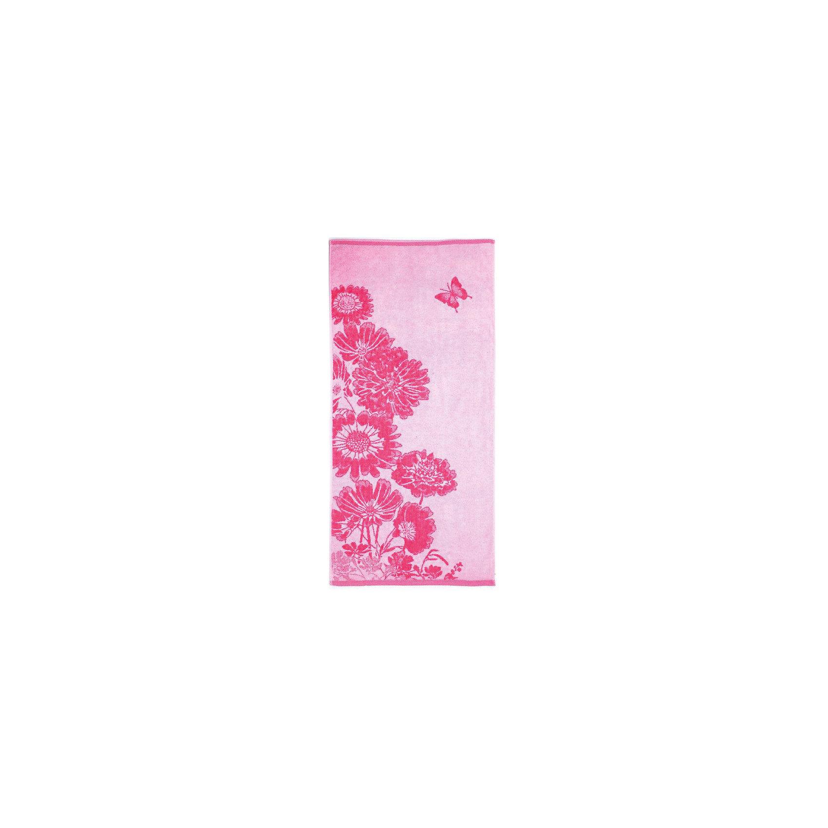 Полотенце махровое Цветник 35*70, Любимый дом, розовый