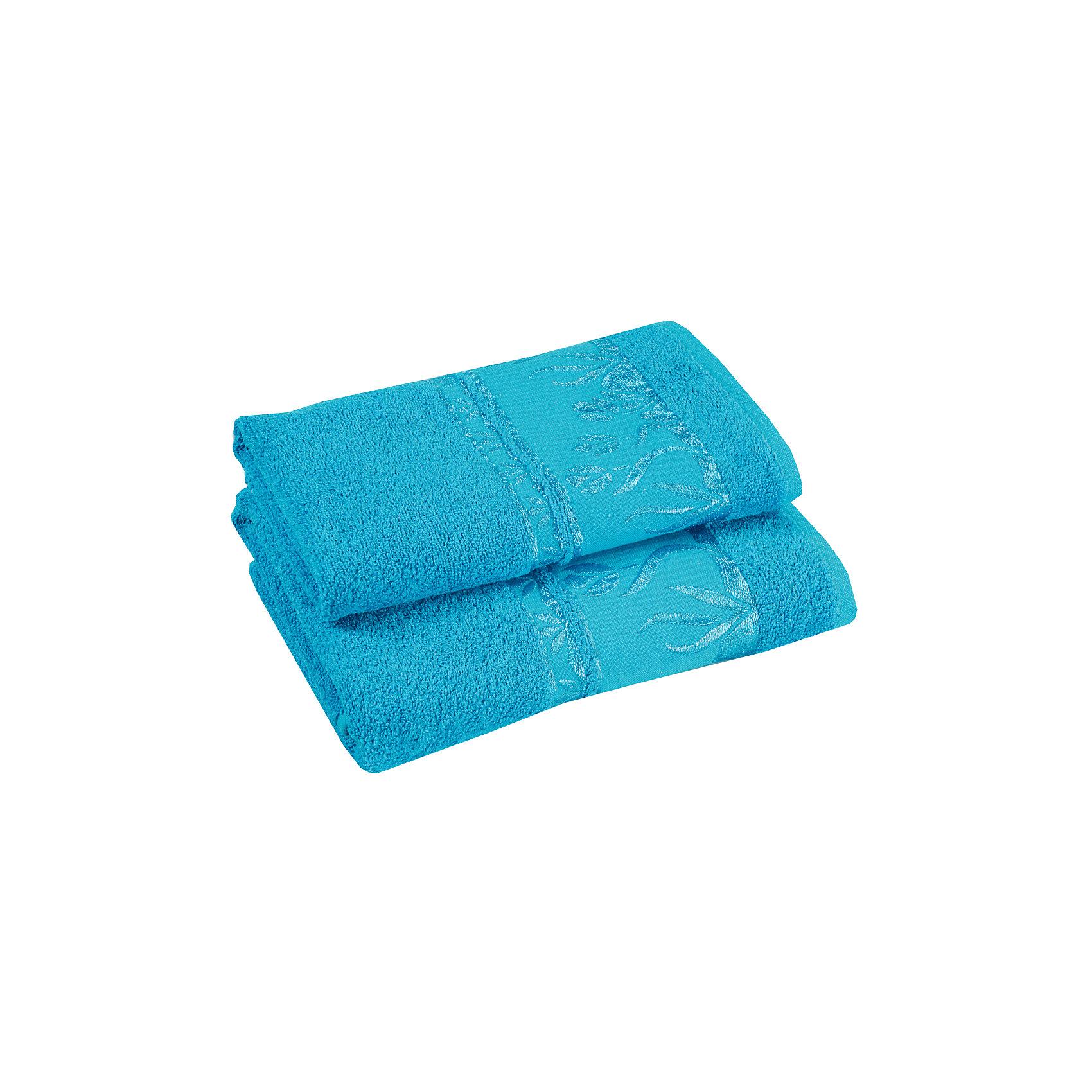 Полотенце махровое Tulips 40*75, Португалия, ярко-голубой