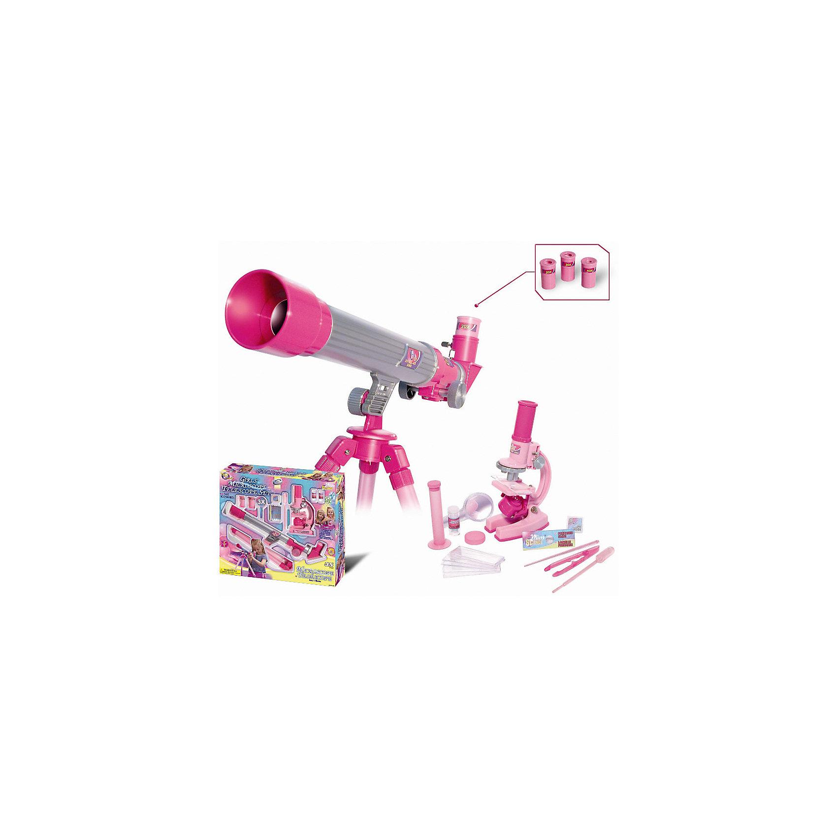 Телескоп и микроскоп для девочек (35 предметов), EastcolightТелескопы<br>Телескоп и микроскоп для девочек (35 предметов) – развивающая игрушка, выполненная в розовом цвете, который должен понравиться юным любительницам естественных наук. <br><br>Микроскоп позволяет получить увеличение 100х, 200х, 450х, телескоп – 20х, 30х, 40х. Диаметр объектива - 30 мм. Фокусное расстояние - 400 мм. Телескоп оснащен штативом, позволяющим изменять угол наклона трубы с объективом. К микроскопу прилагаются принадлежности для исследований. Требуются батарейки (в комплект не входят).<br><br>Бренд: Eastcolight<br>Вес: 1,250 г<br>Инд. упаковка: коробка<br>Материал: пластик, стекло<br>Размеры ДхВхШ: 43,8 х 7,6 х 39,5<br><br>Ширина мм: 395<br>Глубина мм: 76<br>Высота мм: 438<br>Вес г: 1250<br>Возраст от месяцев: 96<br>Возраст до месяцев: 192<br>Пол: Женский<br>Возраст: Детский<br>SKU: 5011466