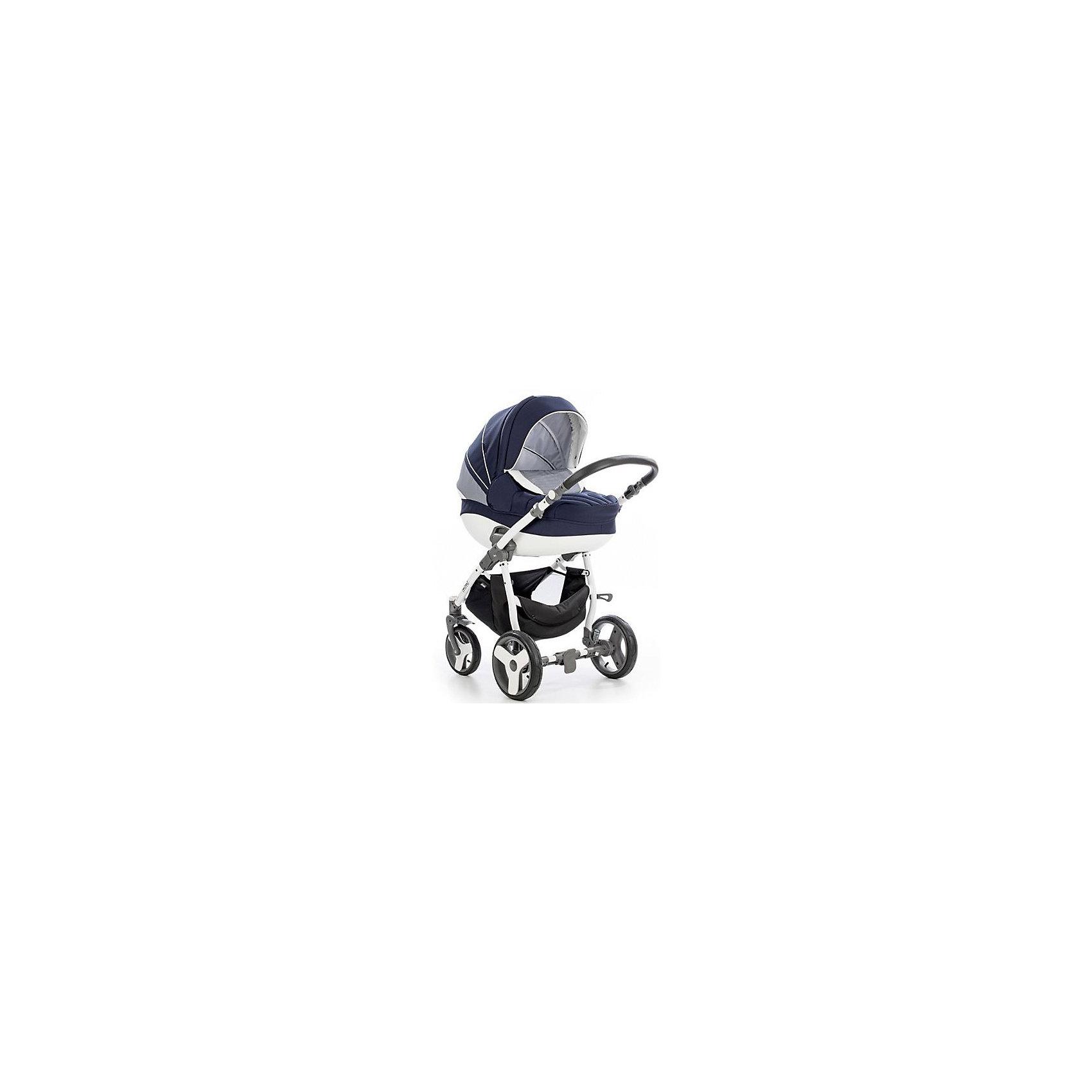 TUTIS Коляска 3 в1 MIMI Plus, Tutis, белая рама, темно-синий/белый/крап универсальная коляска tutis mimi plus 3 в 1 dark blue white rhomb