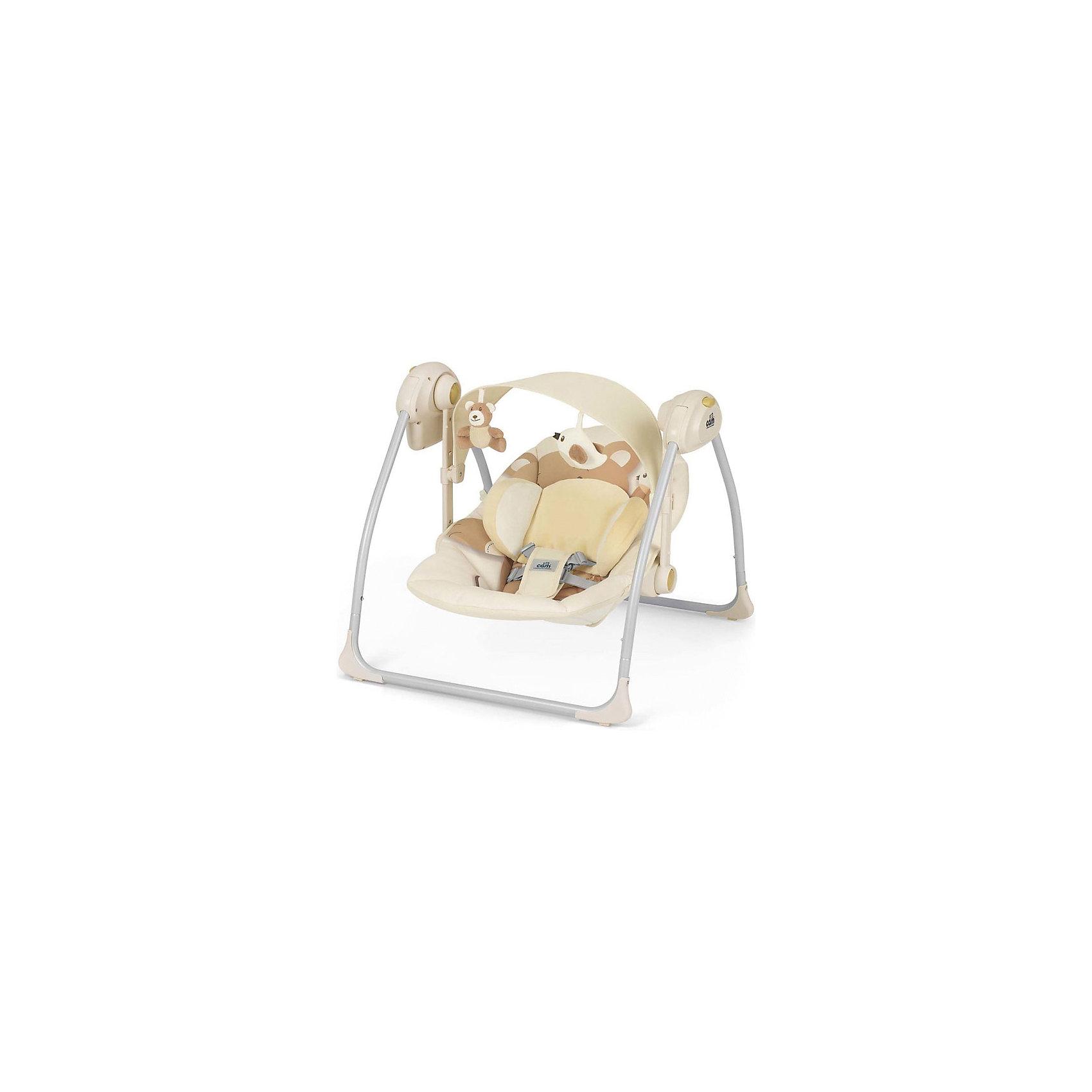 Качели-шезлонг Sonnolento, CAM, бежевый с медвежонкомКачели электронные<br>Качели Sonnolento, CAM, бежевый с медвежонком обеспечат крепкий сон для вашего малыша. <br>Изготовлены качели из прочного и качественного материала. Для безопасности ребенка предусмотрены пятиточечные ремни безопасности. Ножки оснащены насадками против скольжения. Качели имеют 3 скорости укачивания, с автоматическим выключением через 8-15-30 минут, подвесные игрушки и мелодии для сна (5 колыбельные и 3 мелодии со звуками природы), которые можно регулировать. Спинка сиденья регулируется в 2 положениях. Есть съемный козырек и столик.<br><br>Дополнительная информация:<br><br>- возраст: от 0 <br>- вес ребенка: до 9 кг<br>- размер: 61,5 x 64 x 58 см<br>- вес: 4 кг<br>- цвет: оранжевый<br>- материал: пластмасса, металл, текстиль<br><br>Качели Sonnolento, CAM, бежевый с медвежонком  можно купить в нашем интернет магазине.<br><br>Ширина мм: 440<br>Глубина мм: 415<br>Высота мм: 640<br>Вес г: 5500<br>Возраст от месяцев: 0<br>Возраст до месяцев: 8<br>Пол: Унисекс<br>Возраст: Детский<br>SKU: 5013500