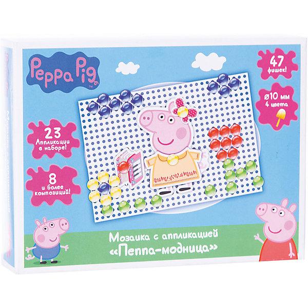 Мозаика с аппликацией Пеппа-модницаМозаика детская<br>Свинка Пеппа приглашает вашего ребенка отправиться в увлекательное творческое путешествие! С набором Пеппа-модница малыш составит 8 очаровательных композиций с героями мультфильма Свинка Пеппа, изображенных на коробочке, и придумает множество собственных сюжетных картинок, по-разному сочетая фишки и аппликации. Для этого в наборе есть 47 фишек 4-х цветов и 23 фигурки-аппликации, которые дают безграничный простор для воображения. Работа с такой мозаикой активно развивает у юного фантазера мелкую моторику, зрительную и тактильную память, внимательность, творческие способности, воображение и усидчивость. А главное – дарит ни с чем не сравнимое удовольствие от создания новых поделок.&#13;<br>В наборе: 47 пластиковых фишек диаметром 10 мм (4 цвета), пластиковая мини-плата (11х16 см), 23 картонные фигуры-аппликации с отверстиями для фишек. Набор позволяет выполнить 8 и более композиций со свинкой Пеппой. Товар сертифицирован. Срок службы – 5 лет. Упаковка – коробка размером 18,5x4x20 см.<br><br>Ширина мм: 185<br>Глубина мм: 40<br>Высота мм: 200<br>Вес г: 105<br>Возраст от месяцев: 36<br>Возраст до месяцев: 84<br>Пол: Унисекс<br>Возраст: Детский<br>SKU: 5016334