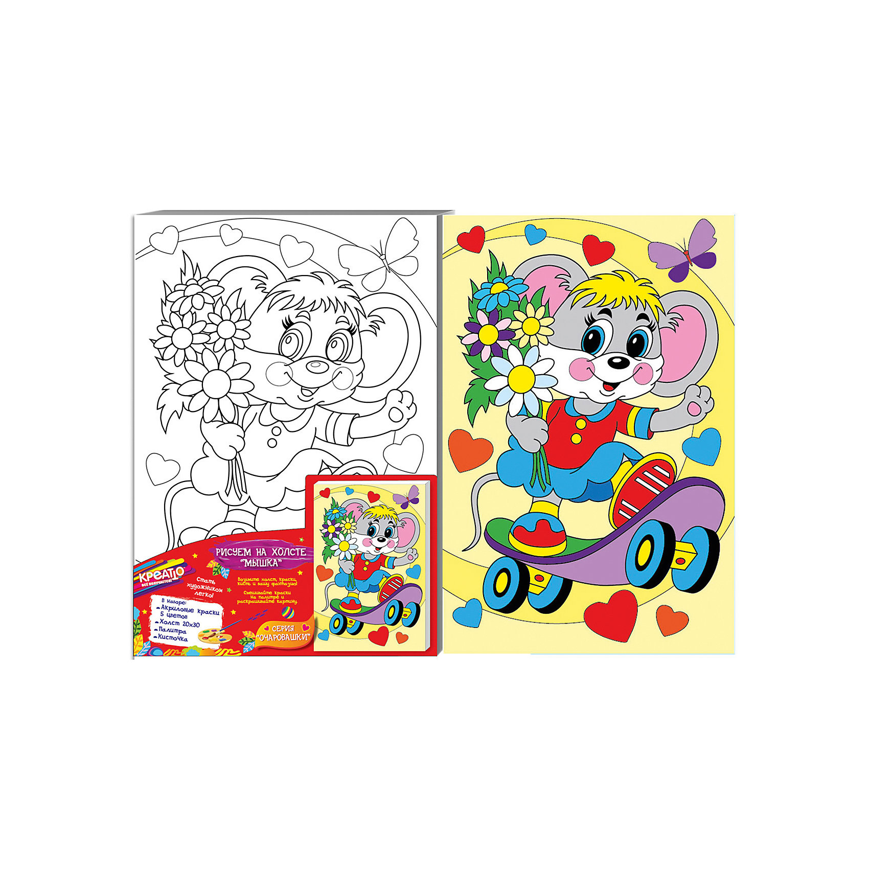 Роспись по холсту МЫШКА, 20Х30СМРаскраски по номерам<br>Добро пожаловать в мир КРЕАТТО! Предложите ребенку создать на холсте милую картинку «Мышка» из серии «Очаровашки». В наборе есть все необходимое. Выдавите краску из тюбиков на палитру, при желании смешайте цвета, получив новые оттенки, или разбавьте краски водой для придания им прозрачности. Если ошиблись, то просто закрасьте фрагмент новым цветом поверх подсохшей краски. Акриловые краски легко ложатся на холст, быстро сохнут, хорошо растворяются в воде, после высыхания становятся водонепроницаемыми. У юного художника получится яркая картина с изображением мышки на самокате, которую можно поставить на видное место. А во время работы с холстом у ребенка развивается мелкая моторика, художественный вкус, воображение, умение рисовать и сочетать цвета.&#13;<br>В наборе: плотный отбеленный загрунтованный холст с контурным рисунком, натянутый на деревянную рамку (20х30 см); 5 ярких цветов акриловых красок в металлических тубах; палитра; кисточка. Товар сертифицирован. Срок годности: 3 года.<br><br>Ширина мм: 200<br>Глубина мм: 300<br>Высота мм: 15<br>Вес г: 244<br>Возраст от месяцев: 36<br>Возраст до месяцев: 84<br>Пол: Унисекс<br>Возраст: Детский<br>SKU: 5016380