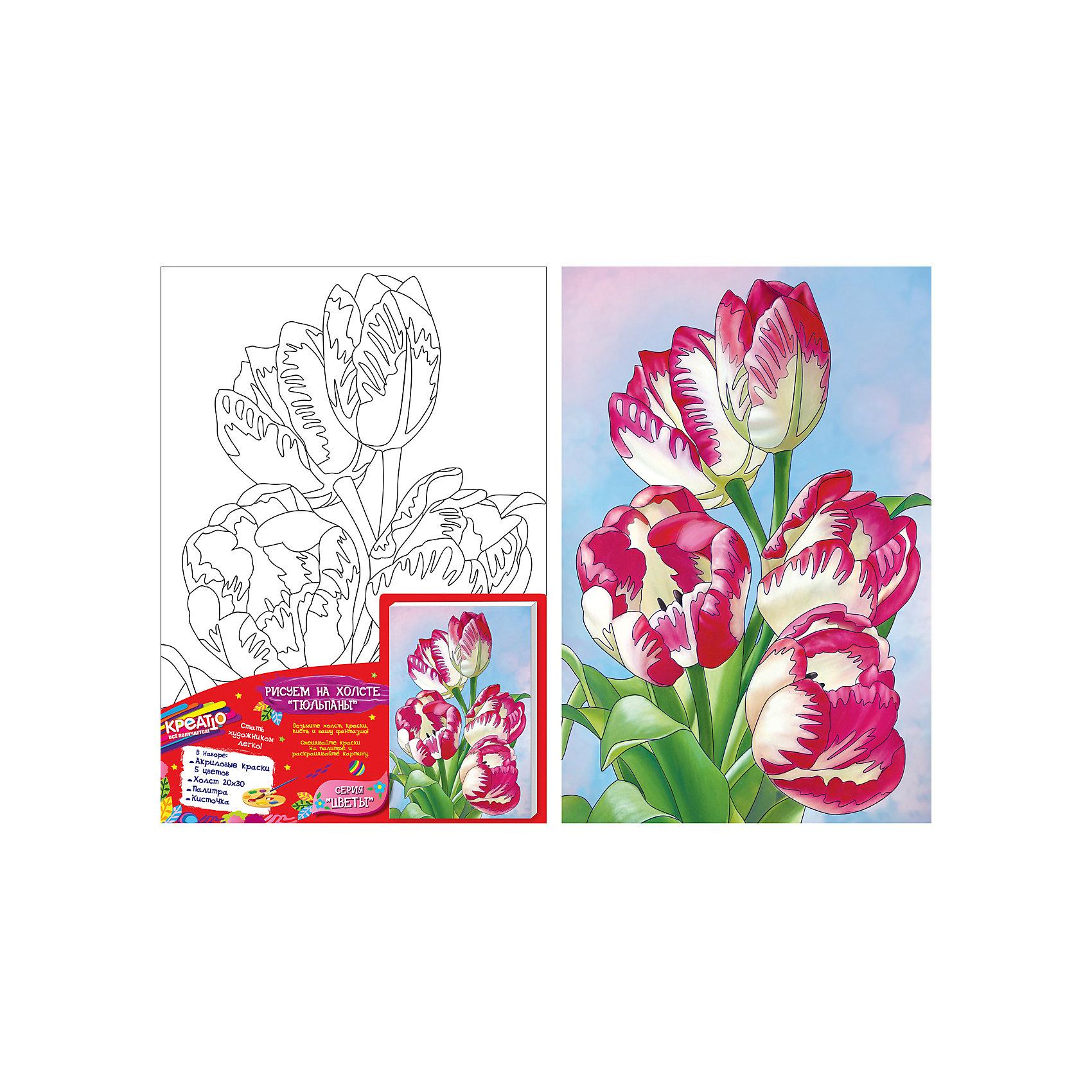Роспись по холсту ТЮЛЬПАНЫ,20Х30СМРисование<br>Добро пожаловать в мир КРЕАТТО! Предложите ребенку создать на холсте красивую картину «Тюльпаны» из серии «Цветы». В наборе есть все необходимое. Выдавите краску из тюбиков на палитру, при желании смешайте цвета, получив новые оттенки, или разбавьте краски водой для придания им прозрачности. Если ошиблись, то просто закрасьте фрагмент новым цветом поверх подсохшей краски. Акриловые краски легко ложатся на холст, быстро сохнут, хорошо растворяются в воде, после высыхания становятся водонепроницаемыми. У юного художника получится яркая картина с очаровательными тюльпанами, которую можно поставить на видное место. А во время работы с холстом у ребенка развивается мелкая моторика, художественный вкус, воображение, умение рисовать и сочетать цвета.&#13;<br>В наборе: плотный отбеленный загрунтованный холст с контурным рисунком, натянутый на деревянную рамку (20х30 см); 5 ярких цветов акриловых красок в металлических тубах; палитра; кисточка. Товар сертифицирован. Срок годности: 3 года.<br><br>Ширина мм: 200<br>Глубина мм: 300<br>Высота мм: 15<br>Вес г: 243<br>Возраст от месяцев: 36<br>Возраст до месяцев: 84<br>Пол: Унисекс<br>Возраст: Детский<br>SKU: 5016383