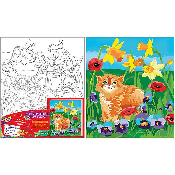 Роспись по холсту КОТЕНОК В ЦВЕТАХ25*30смРаскраски по номерам<br>С набором для росписи по холсту «Котенок в цветах» ваш ребенок сможет создать красивую картинку. В комплекте для этого есть все необходимое. Для удобства выдавите краску из тюбиков на палитру, при желании смешайте цвета, получив новые оттенки, или разбавьте краски водой для придания им прозрачности. Если ошиблись, то просто закрасьте фрагмент новым цветом поверх подсохшей краски. Во время раскрашивания картинки на холсте у юной художницы развивается мелкая моторика, художественный вкус, воображение, умение рисовать и сочетать цвета. А в результате получится красивая, яркая картина. С «Креатто» все получается легко!<br>В наборе: плотный отбеленный загрунтованный холст с контурным рисунком, натянутый на деревянную рамку (25х30 см); 5 ярких цветов акриловых красок в металлических тубах; палитра; кисточка. Акриловые краски легко ложатся на холст, быстро сохнут, хорошо растворяются в воде, после высыхания становятся водонепроницаемыми. Товар сертифицирован. Срок годности: 3 года.<br><br>Ширина мм: 300<br>Глубина мм: 250<br>Высота мм: 15<br>Вес г: 230<br>Возраст от месяцев: 36<br>Возраст до месяцев: 108<br>Пол: Унисекс<br>Возраст: Детский<br>SKU: 5016395