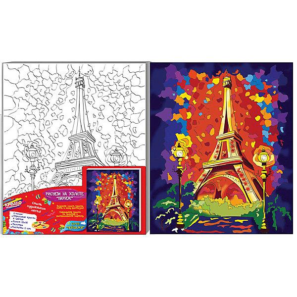 Роспись по холсту ПАРИЖ, 25Х30СМ,Раскраски по номерам<br>Окунитесь в мир творчества и фантазий, раскрашивая знаменитую Эйфелеву башню на холсте. Яркие, насыщенные краски легко ложатся на его поверхность, создавая красивый рисунок. Они быстро сохнут, хорошо растворяются в воде, после высыхания становятся водонепроницаемыми. Получайте новые оттенки, смешивая цвета, придавайте краскам прозрачность, разбавляя их водой. Если ошиблись, просто закрасьте фрагмент новым цветом поверх подсохшей краски. У вас получится яркая, красивая картинка. Такое занятие приносит большое удовольствие и огромную пользу, ведь рисование развивает мелкую моторику, глазомер, цветовосприятие, художественный вкус и многое другое. С «КРЕАТТО» все получается легко!&#13;<br>В наборе: плотный отбеленный загрунтованный холст 25х30 см (плотность – 280 г/м) с уже нанесённым контурным рисунком, натянутый на деревянную рамку, 6 цветов акриловых красок в металлических тубах, палитра. Товар сертифицирован. Срок годности – 3 года.<br><br>Ширина мм: 300<br>Глубина мм: 250<br>Высота мм: 15<br>Вес г: 320<br>Возраст от месяцев: 60<br>Возраст до месяцев: 108<br>Пол: Унисекс<br>Возраст: Детский<br>SKU: 5016398