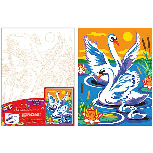 Купить Раскраска по номерам ЛЕБЕДИ 30*40см, Росмэн, Китай, Унисекс