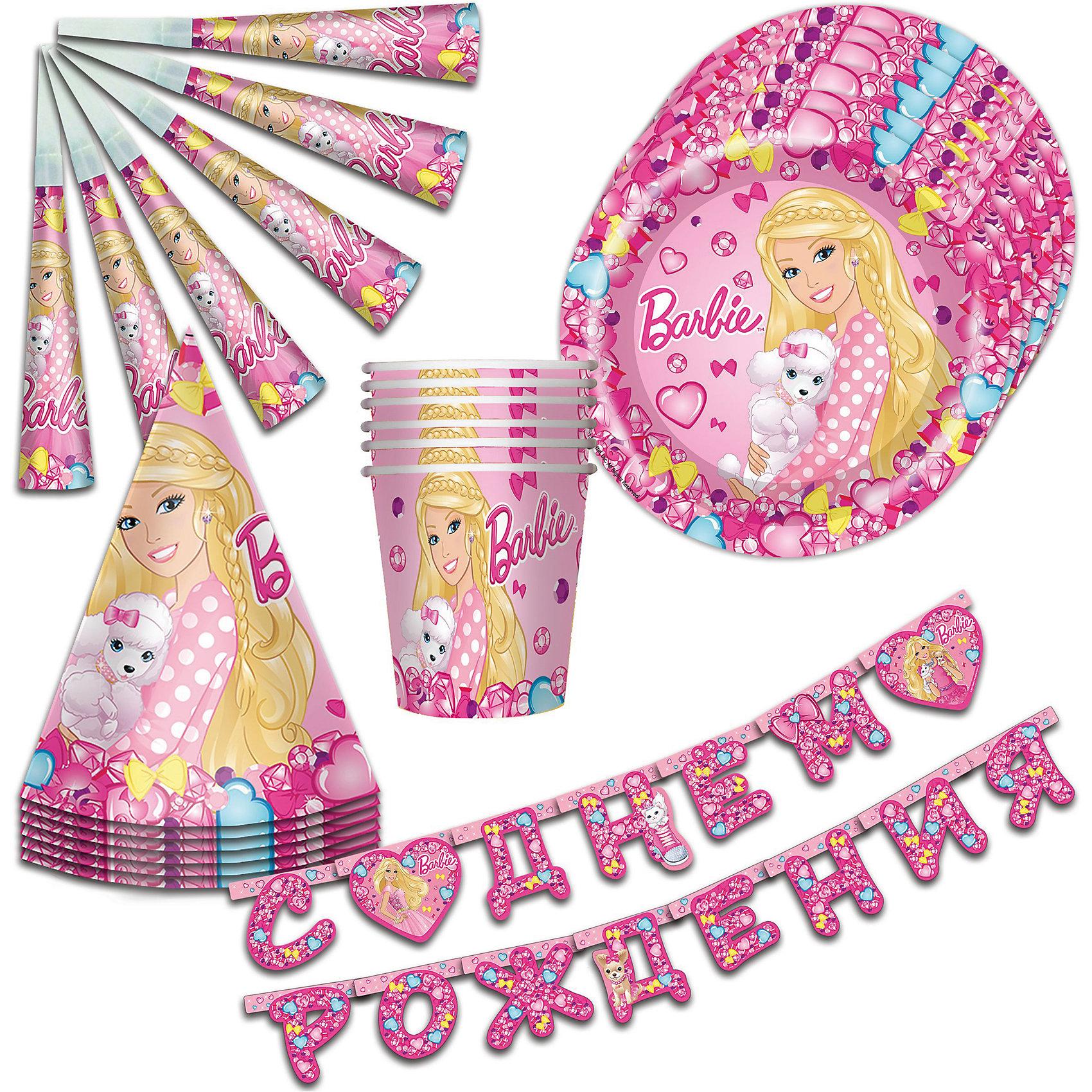 Набор посуды 25 предметов БарбиПосуда<br>С необыкновенно красивым набором «Барби» День Рождения юной принцессы станет по-настоящему незабываемым! Красочный дизайн с красавицей Барби и ее очаровательной собачкой поднимет настроение и детям, и даже взрослым. Гирлянда преобразит помещение, колпачки и дудочки помогут организовать множество увлекательных игр. А красивая посуда ярко украсит стол и принесет практическую пользу: бумажные одноразовые тарелки и стаканы прекрасно удерживают еду и напитки, почти невесомы, не могут разбиться, их не надо мыть.&#13;<br>В наборе 25 предметов на 6 персон: 6 тарелок диаметром 23 см, 6 стаканов объемом 210 мл, 6 бумажных колпачков на резинках, 6 бумажных дудочек, 1 бумажная гирлянда с надписью «С Днем Рождения» длиной 2,5 м (высота флажков: 15 см). Вы также можете выбрать другие товары из данной серии: стаканы, тарелки, салфетки, язычки, колпаки, маски, приглашение в конверте, скатерть, маски, пакеты и др.<br><br>Ширина мм: 250<br>Глубина мм: 280<br>Высота мм: 110<br>Вес г: 368<br>Возраст от месяцев: 36<br>Возраст до месяцев: 108<br>Пол: Унисекс<br>Возраст: Детский<br>SKU: 5016415