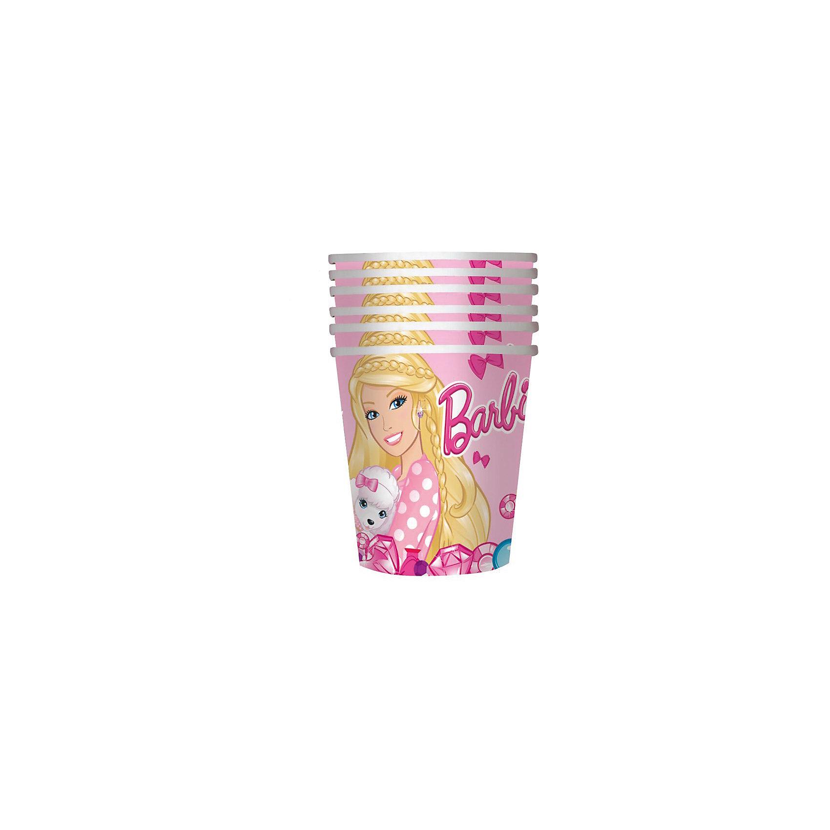 Стакан 210мл, 6шт БарбиУдобные и практичные стаканы «Барби» со стильным дизайном созданы специально для детского праздника: они ярко украсят стол и привлекут внимание всех участников торжества. Одноразовые бумажные стаканы прекрасно удерживают напитки, почти невесомы, не могут разбиться, их не надо мыть.&#13;<br>В наборе 6 бумажных стаканов объемом 210 мл, декорированных привлекательным принтом. Вы также можете выбрать другие товары из данной серии: тарелки, салфетки, язычки, колпаки, подарочный набор посуды, приглашение в конверте, скатерть, маски, подарочные пакеты и др.<br><br>Ширина мм: 75<br>Глубина мм: 75<br>Высота мм: 107<br>Вес г: 30<br>Возраст от месяцев: 36<br>Возраст до месяцев: 108<br>Пол: Унисекс<br>Возраст: Детский<br>SKU: 5016416