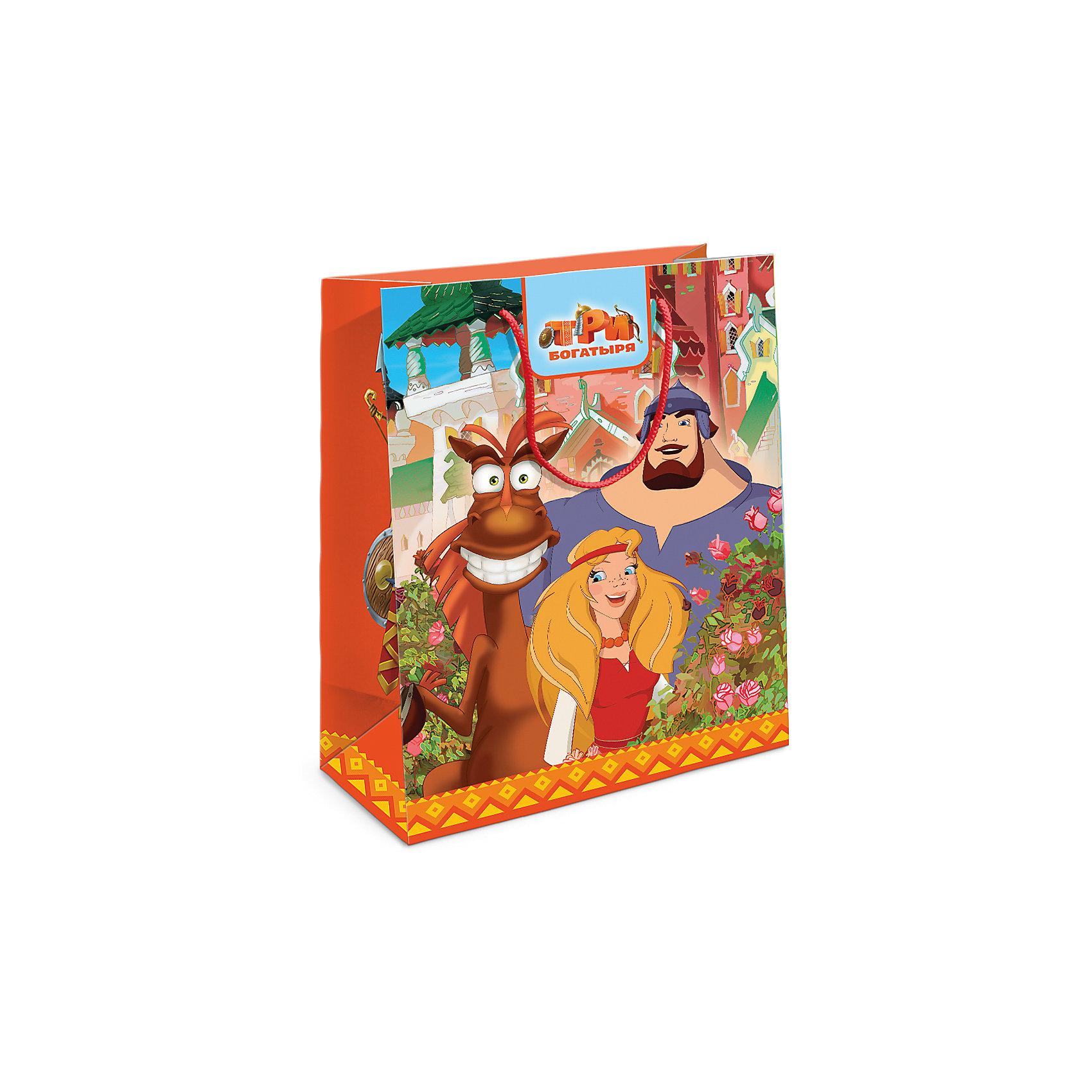 Пакет подарочный Три богатыря 230*180*100Всё для праздника<br>Подарочный бумажный пакет с незабываемыми героями мультфильма «Три богатыря» ярко украсит подарок и еще больше поднимет праздничное настроение виновнику торжества. Размер: 23х18х10 см. В ассортименте вы также сможете найти такой же пакет размером 35х25х9 см.<br><br>Ширина мм: 230<br>Глубина мм: 180<br>Высота мм: 5<br>Вес г: 39<br>Возраст от месяцев: 36<br>Возраст до месяцев: 120<br>Пол: Унисекс<br>Возраст: Детский<br>SKU: 5016440