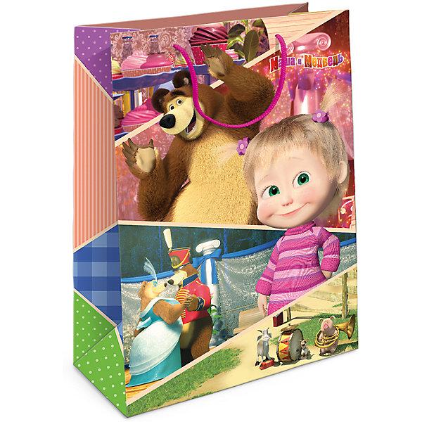 Пакет подарочный Маша и Миша 350*250*90Детские подарочные пакеты<br>Подарочный бумажный пакет с очаровательными героями мультфильма «Маша и Медведь» ярко украсит ваш подарок и обязательно порадует малыша. Размер: 35х25х9 см. В ассортименте вы сможете найти такой же пакет размером  23х18х10 см.<br><br>Ширина мм: 350<br>Глубина мм: 250<br>Высота мм: 3<br>Вес г: 78<br>Возраст от месяцев: 36<br>Возраст до месяцев: 120<br>Пол: Унисекс<br>Возраст: Детский<br>SKU: 5016441
