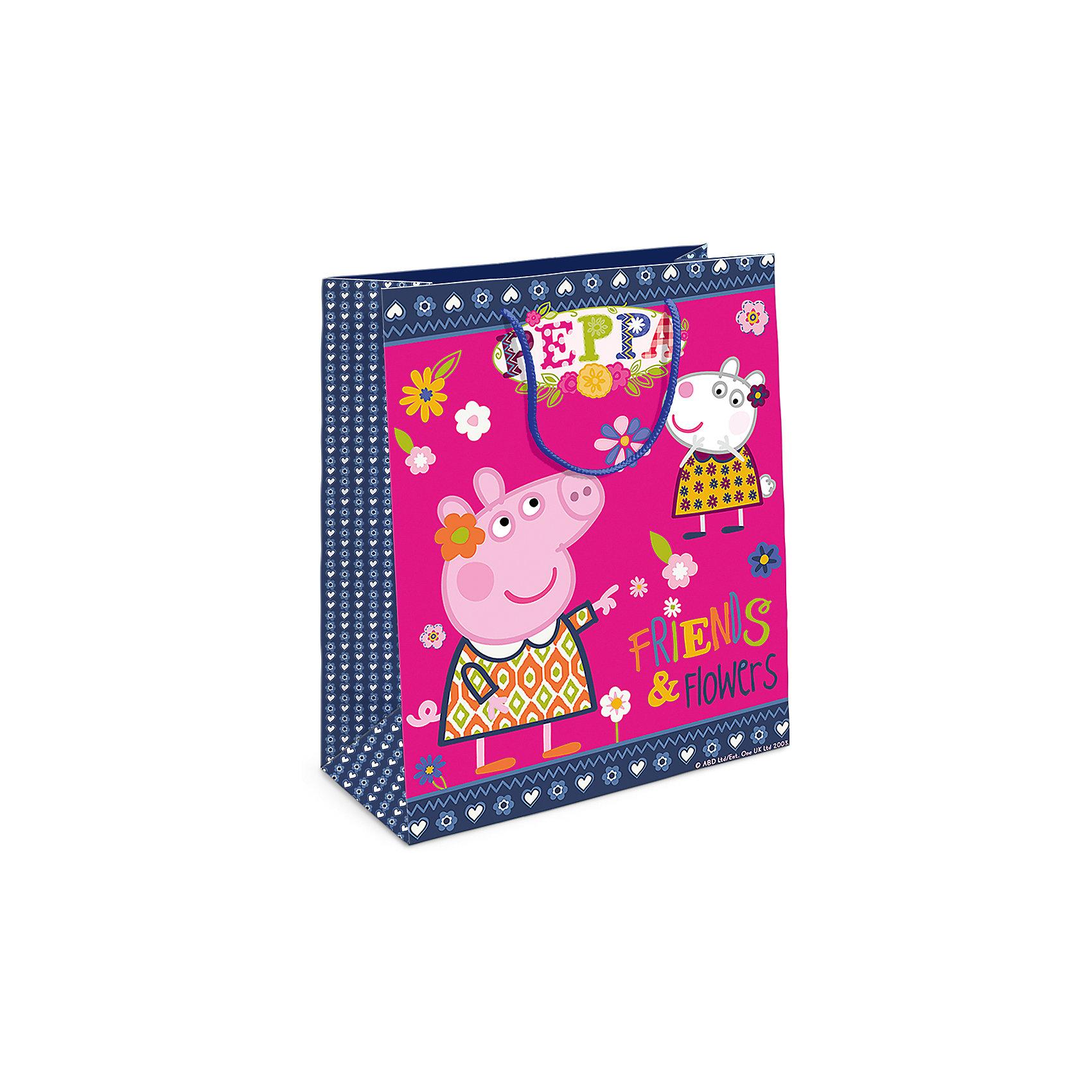 Пакет подарочный  Пеппа и Сьюзи, 23*18*10Всё для праздника<br>Подарочный бумажный пакет «Пеппа и Сьюзи» с очаровательными героями мультфильма «Свинка Пеппа» ярко украсит подарок и обязательно порадует вашу малышку. Размер: 23х18х10см. В ассортименте вы также сможете найти такой же пакет размером 35х25х9 см.<br><br>Ширина мм: 230<br>Глубина мм: 180<br>Высота мм: 5<br>Вес г: 39<br>Возраст от месяцев: 144<br>Возраст до месяцев: 120<br>Пол: Унисекс<br>Возраст: Детский<br>SKU: 5016445