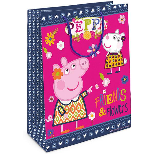 Пакет подарочный  Пеппа и Сьюзи, 35*25*9Детские подарочные пакеты<br>Подарочный бумажный пакет «Пеппа и Сьюзи» с очаровательными героями мультфильма «Свинка Пеппа» ярко украсит подарок и обязательно порадует вашу малышку. Размер: 35х25х9 см. В ассортименте вы также сможете найти такой же пакет размером 23х18х10 см.<br>Ширина мм: 350; Глубина мм: 250; Высота мм: 5; Вес г: 61; Возраст от месяцев: 144; Возраст до месяцев: 120; Пол: Унисекс; Возраст: Детский; SKU: 5016446;