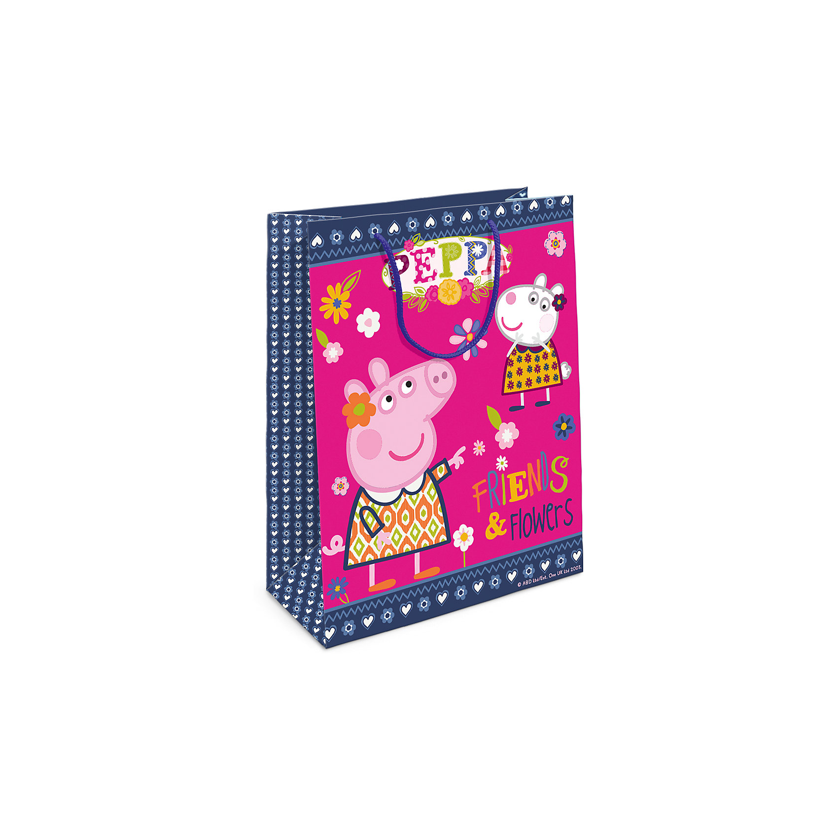 Пакет подарочный  Пеппа и Сьюзи, 35*25*9Всё для праздника<br>Подарочный бумажный пакет «Пеппа и Сьюзи» с очаровательными героями мультфильма «Свинка Пеппа» ярко украсит подарок и обязательно порадует вашу малышку. Размер: 35х25х9 см. В ассортименте вы также сможете найти такой же пакет размером 23х18х10 см.<br><br>Ширина мм: 350<br>Глубина мм: 250<br>Высота мм: 5<br>Вес г: 61<br>Возраст от месяцев: 144<br>Возраст до месяцев: 120<br>Пол: Унисекс<br>Возраст: Детский<br>SKU: 5016446