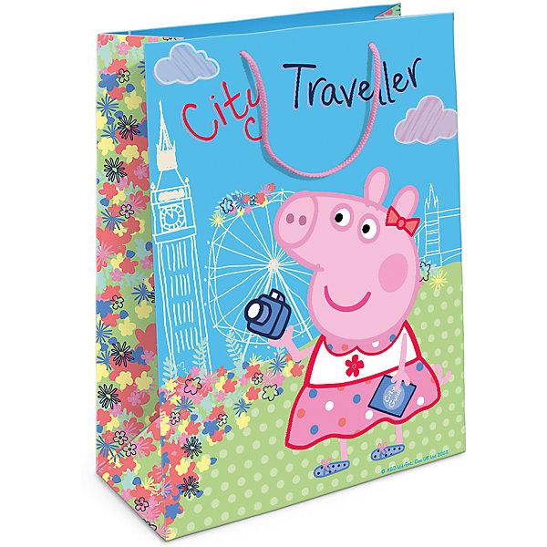 Пакет подарочный  Пеппа на каникулах, 35*25*9Детские подарочные пакеты<br>Подарочный бумажный пакет «Пеппа на каникулах» с веселыми и забавными героями мультфильма «Свинка Пеппа» очаровательно украсит подарок и обязательно порадует малыша. Размер: 35х25х9 см. В ассортименте вы также сможете найти такой же пакет размером 23х18х10 см.<br>Ширина мм: 350; Глубина мм: 250; Высота мм: 5; Вес г: 61; Возраст от месяцев: 144; Возраст до месяцев: 120; Пол: Унисекс; Возраст: Детский; SKU: 5016448;