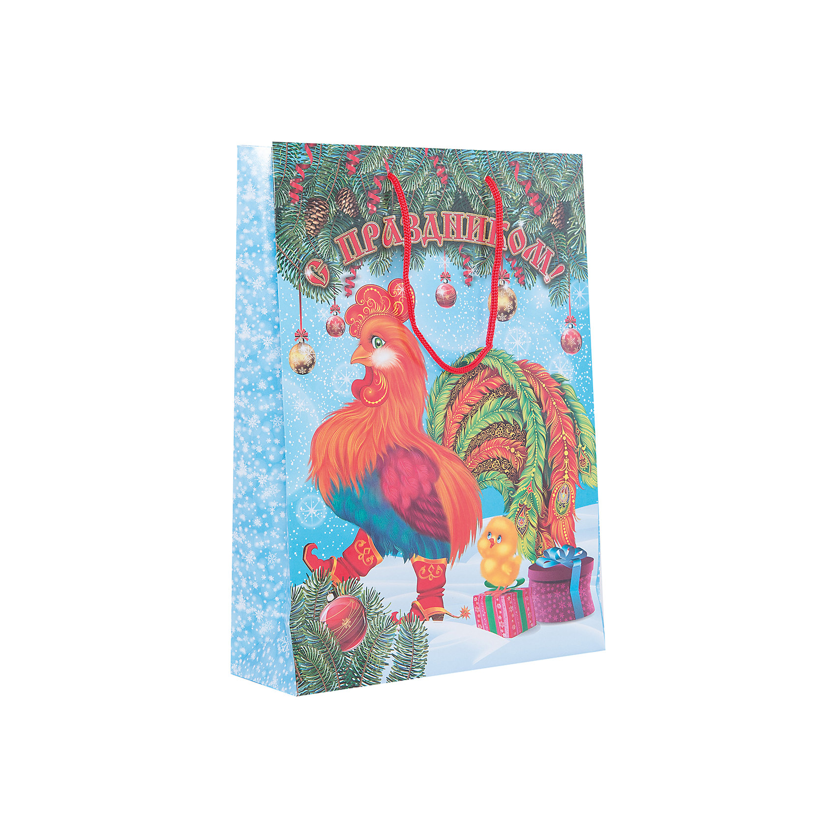 Пакет подарочный  символ года Петух 35х25х10Подарочный бумажный пакет «Петух» с очаровательным символом 2017 года празднично украсит подарок и создаст новогоднее настроение. Размер: 35х25х9 см. В ассортименте вы также сможете найти такой же пакет размером  23х18х10 см.<br><br>Ширина мм: 350<br>Глубина мм: 250<br>Высота мм: 3<br>Вес г: 78<br>Возраст от месяцев: 36<br>Возраст до месяцев: 120<br>Пол: Унисекс<br>Возраст: Детский<br>SKU: 5016452