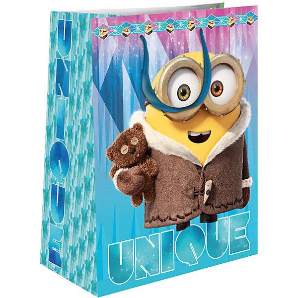 Пакет подарочный Зимний Миньон 350*250*90Детские подарочные пакеты<br>Подарочный бумажный пакет «Зимний Миньон» с очаровательным зимним принтом ярко украсит подарок и еще больше поднимет праздничное настроение. Размер: 35х25х9 см. В ассортименте вы также сможете найти такой же пакет размером 23х18х10 см.<br><br>Ширина мм: 350<br>Глубина мм: 250<br>Высота мм: 3<br>Вес г: 78<br>Возраст от месяцев: 36<br>Возраст до месяцев: 120<br>Пол: Унисекс<br>Возраст: Детский<br>SKU: 5016456