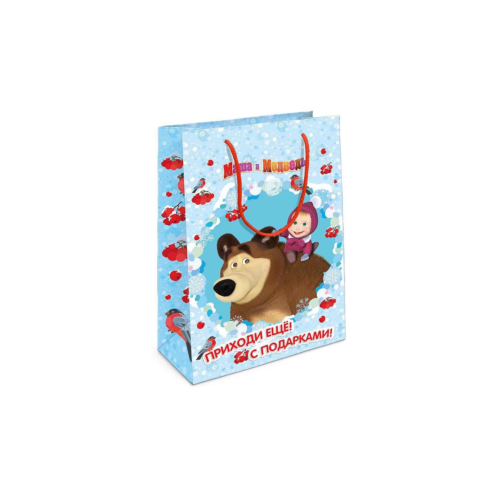 Росмэн Пакет подарочный Маша новогодняя 350*250*90 росмэн пакет подарочный маша новогодняя 230 180 100