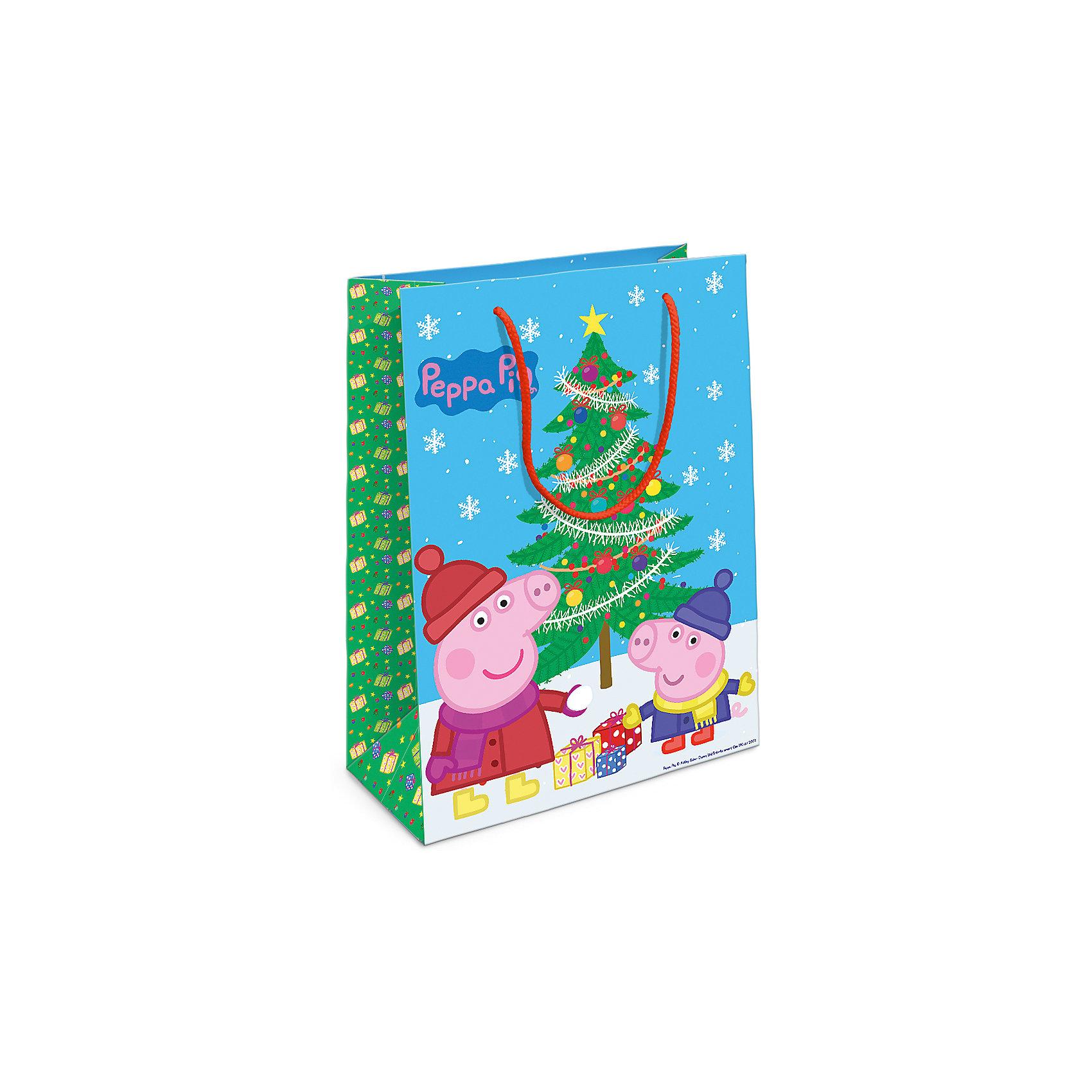 Пакет подарочный Пеппа и елка 350*250*90Порадуйте малыша новогодним подарком! А красивый подарочный пакет «Пеппа и ёлка» с забавными героями мультфильма «Свинка Пеппа» станет его эффектным дополнением. Размер бумажного подарочного пакета: 35х25х9 см.<br><br>Ширина мм: 350<br>Глубина мм: 250<br>Высота мм: 3<br>Вес г: 41<br>Возраст от месяцев: 36<br>Возраст до месяцев: 120<br>Пол: Унисекс<br>Возраст: Детский<br>SKU: 5016463