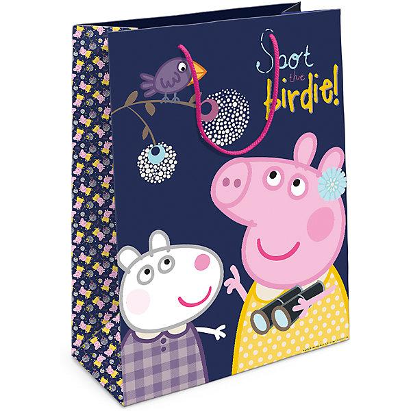 Пакет подарочный Пеппа и птица 350*250*90Детские подарочные пакеты<br>Подарочный бумажный пакет «Пеппа и птица» с очаровательным героями мультфильма «Свинка Пеппа» празднично украсит подарок и создаст отличное настроение. Размер: 35х25х9 см. В ассортименте вы также сможете найти такой же пакет размером  23х18х10 см.<br><br>Ширина мм: 350<br>Глубина мм: 250<br>Высота мм: 3<br>Вес г: 78<br>Возраст от месяцев: 36<br>Возраст до месяцев: 120<br>Пол: Унисекс<br>Возраст: Детский<br>SKU: 5016464