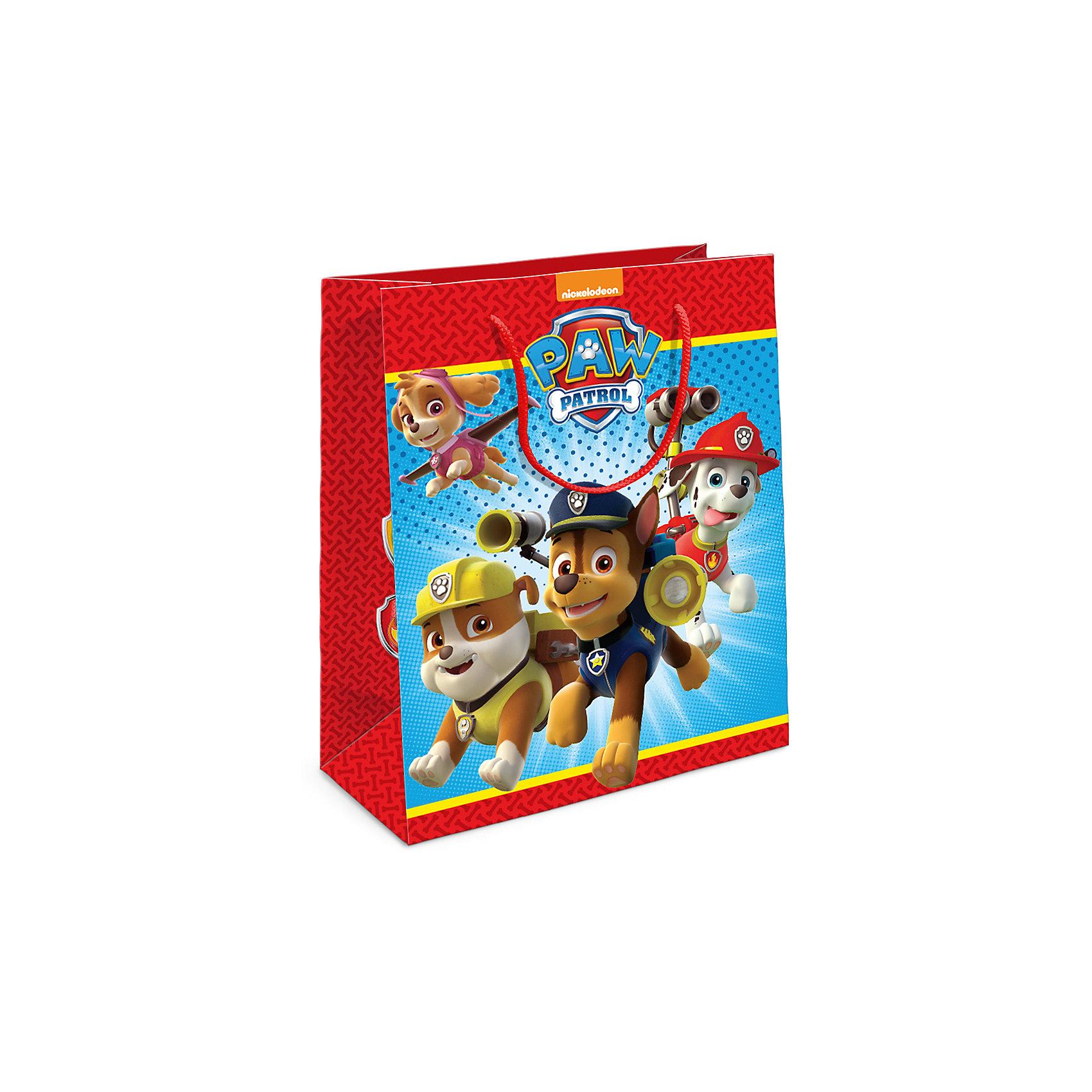 Пакет подарочный Щенячий патруль 230*180*100Подарочный бумажный пакет с веселыми и очаровательными героями мультфильма «Щенячий патруль» ярко украсит подарок и порадует малыша. Размер: 23х18х10 см. В ассортименте вы также сможете найти такой же пакет размером 35х25х9 см.<br><br>Ширина мм: 230<br>Глубина мм: 180<br>Высота мм: 5<br>Вес г: 39<br>Возраст от месяцев: 60<br>Возраст до месяцев: 120<br>Пол: Унисекс<br>Возраст: Детский<br>SKU: 5016467
