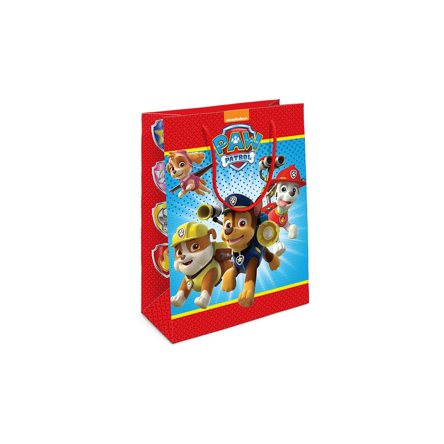 Пакет подарочный Щенячий патруль 350*250*90Всё для праздника<br>Подарочный бумажный пакет с веселыми и очаровательными героями мультфильма «Щенячий патруль» ярко украсит любой подарок и порадует малыша. Размер: 35х25х9 см. В ассортименте вы также сможете найти такой же пакет размером 23х18х10 см.<br><br>Ширина мм: 350<br>Глубина мм: 250<br>Высота мм: 5<br>Вес г: 61<br>Возраст от месяцев: 60<br>Возраст до месяцев: 120<br>Пол: Унисекс<br>Возраст: Детский<br>SKU: 5016468