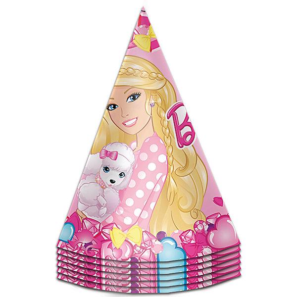 Колпачок 6шт БарбиBarbie<br>Милые колпачки с изображением красавицы Барби очаруют всех участниц детского торжества и ярко дополнят их праздничные наряды.<br>В наборе «Барби» 6 бумажных колпаков на резинках, декорированных ярким, привлекательным принтом. Вы также можете выбрать другие товары из данной серии: стаканы, тарелки, салфетки, язычки, дудочки, приглашение в конверте, скатерть, мыльные пузыри и другие товары.<br>Ширина мм: 105; Глубина мм: 105; Высота мм: 170; Вес г: 60; Возраст от месяцев: 36; Возраст до месяцев: 120; Пол: Унисекс; Возраст: Детский; SKU: 5016475;