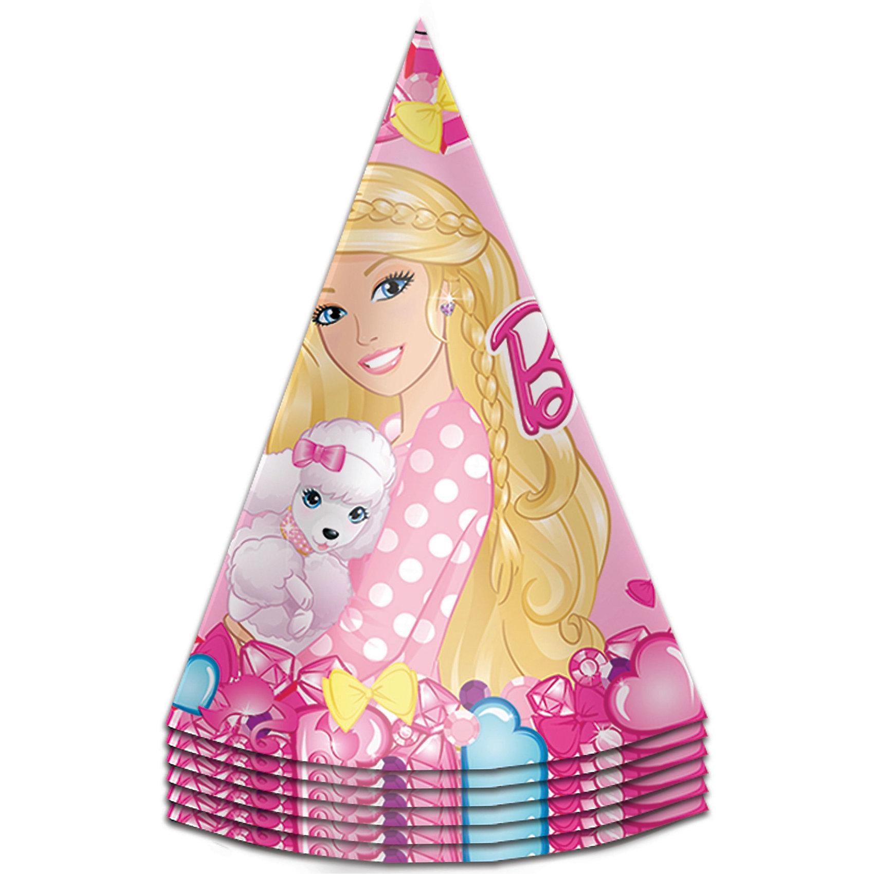 Колпачок 6шт БарбиBarbie<br>Милые колпачки с изображением красавицы Барби очаруют всех участниц детского торжества и ярко дополнят их праздничные наряды.&#13;<br>В наборе «Барби» 6 бумажных колпаков на резинках, декорированных ярким, привлекательным принтом. Вы также можете выбрать другие товары из данной серии: стаканы, тарелки, салфетки, язычки, дудочки, приглашение в конверте, скатерть, мыльные пузыри и другие товары.<br><br>Ширина мм: 105<br>Глубина мм: 105<br>Высота мм: 170<br>Вес г: 60<br>Возраст от месяцев: 36<br>Возраст до месяцев: 120<br>Пол: Унисекс<br>Возраст: Детский<br>SKU: 5016475