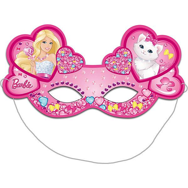 Маска бумажная 6шт, БарбиBarbie<br>Очаровательные розовые маски с изображением красавицы Барби и ее милой кошечки необыкновенно украсят участниц детского праздника или карнавала, подарив маленьким модницам прекрасное настроение.<br>В наборе «Барби» 6 ярких детских масок из плотной бумаги на резинках. Товар сертифицирован. Вы также можете выбрать другие товары из данной серии: стаканы, тарелки, салфетки, язычки, колпаки, подарочный набор посуды, приглашение в конверте, скатерть, дудочки, подарочные пакеты и другие товары.<br><br>Ширина мм: 225<br>Глубина мм: 130<br>Высота мм: 3<br>Вес г: 30<br>Возраст от месяцев: 36<br>Возраст до месяцев: 120<br>Пол: Унисекс<br>Возраст: Детский<br>SKU: 5016488