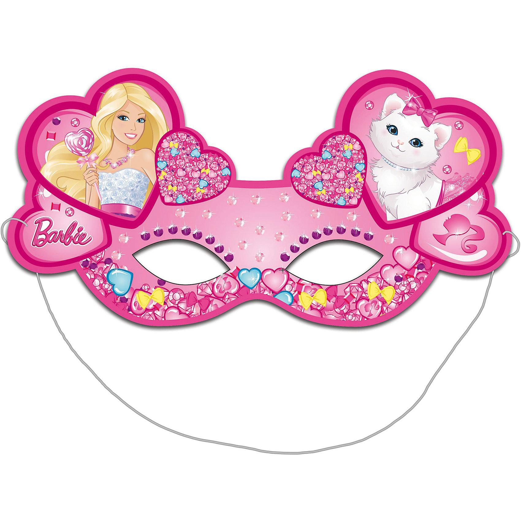 Маска бумажная 6шт, БарбиBarbie<br>Очаровательные розовые маски с изображением красавицы Барби и ее милой кошечки необыкновенно украсят участниц детского праздника или карнавала, подарив маленьким модницам прекрасное настроение.&#13;<br>В наборе «Барби» 6 ярких детских масок из плотной бумаги на резинках. Товар сертифицирован. Вы также можете выбрать другие товары из данной серии: стаканы, тарелки, салфетки, язычки, колпаки, подарочный набор посуды, приглашение в конверте, скатерть, дудочки, подарочные пакеты и другие товары.<br><br>Ширина мм: 225<br>Глубина мм: 130<br>Высота мм: 3<br>Вес г: 30<br>Возраст от месяцев: 36<br>Возраст до месяцев: 120<br>Пол: Унисекс<br>Возраст: Детский<br>SKU: 5016488