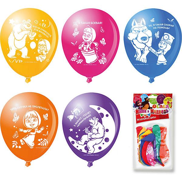 Набор шариков 10шт МАША И МЕДВЕДЬ 30смВоздушные шары<br>Цветные шары «Маша и Медведь» украсят любой праздник, подняв настроение всем – и детям, и взрослым. А надувание шаров еще и чрезвычайно полезно: такое упражнение развивает дыхательную систему, что благотворно влияет на работу всего организма. <br><br>В наборе  10 цветных латексных шаров диаметром 12/30 см c односторонней печатью. В ассортименте 7 дизайнов. Упаковка – пакет с хедером.<br>Ширина мм: 225; Глубина мм: 150; Высота мм: 10; Вес г: 49; Возраст от месяцев: 36; Возраст до месяцев: 120; Пол: Унисекс; Возраст: Детский; SKU: 5016489;