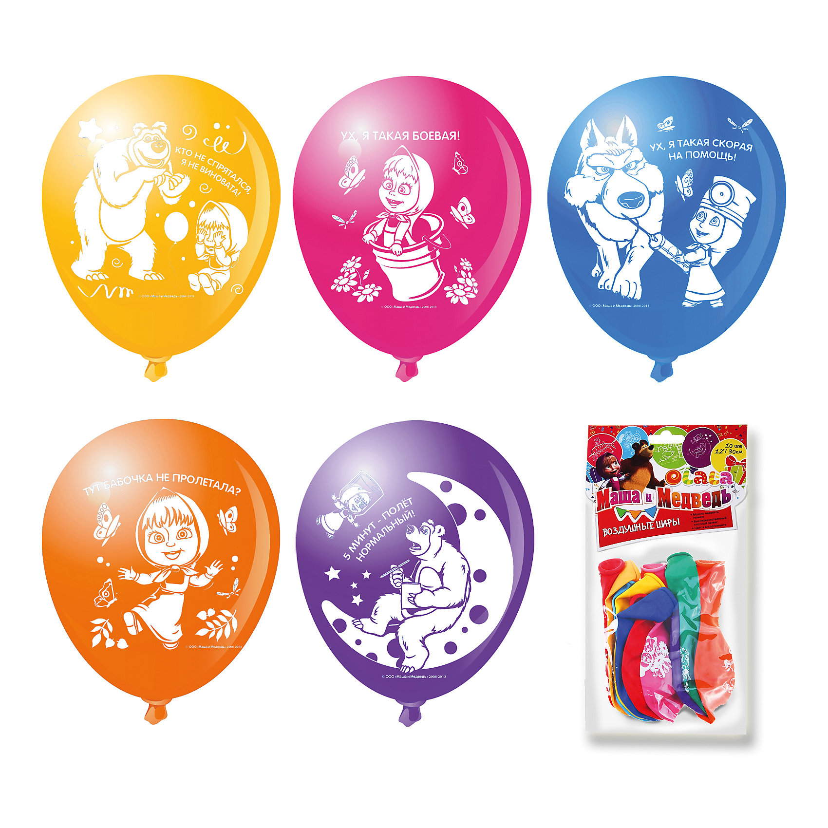 Набор шариков 10шт МАША И МЕДВЕДЬ 30смВсё для праздника<br>Цветные шары «Маша и Медведь» украсят любой праздник, подняв настроение всем – и детям, и взрослым. А надувание шаров еще и чрезвычайно полезно: такое упражнение развивает дыхательную систему, что благотворно влияет на работу всего организма. &#13;<br>&#13;<br>В наборе  10 цветных латексных шаров диаметром 12/30 см c односторонней печатью. В ассортименте 7 дизайнов. Упаковка – пакет с хедером.<br><br>Ширина мм: 225<br>Глубина мм: 150<br>Высота мм: 10<br>Вес г: 49<br>Возраст от месяцев: 36<br>Возраст до месяцев: 120<br>Пол: Унисекс<br>Возраст: Детский<br>SKU: 5016489