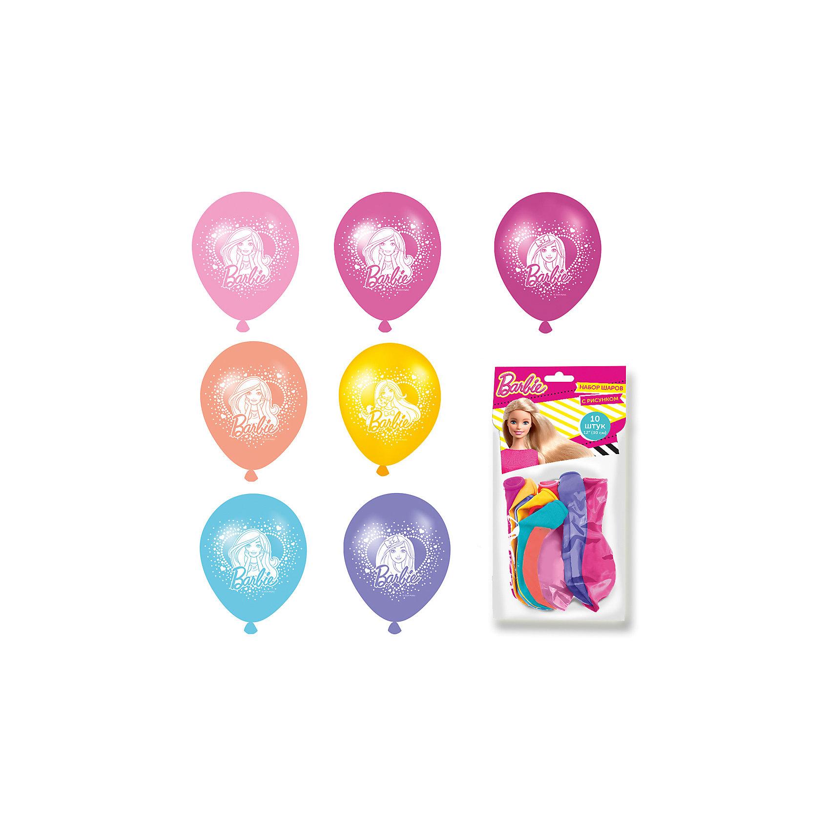 Набор шаров с рисунком 30см, 10 шт. BarbieРазноцветные шарики с очаровательной Барби украсят любой праздник и помогут организовать множество увлекательных конкурсов, даря прекрасное настроение всем - и детям, и взрослым. А надувание шаров еще и чрезвычайно полезно: такое упражнение развивает дыхательную систему, что благотворно влияет на работу всего организма.&#13;<br>В наборе «Barbie» 10 разноцветных латексных шаров диаметром 30 см c односторонней печатью (3 дизайна). Цвета шаров в ассортименте. Упаковка – пакет с хедером. Товар сертифицирован.<br><br>Ширина мм: 220<br>Глубина мм: 150<br>Высота мм: 10<br>Вес г: 48<br>Возраст от месяцев: 36<br>Возраст до месяцев: 120<br>Пол: Унисекс<br>Возраст: Детский<br>SKU: 5016490
