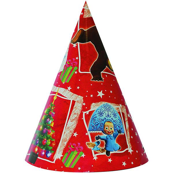 Колпак бумажный Новый год! 6 шт, Маша и медведьНовогодние колпаки<br>Любое детское торжество – это долгожданное событие для каждого ребенка. Это веселье, танцы, задорный смех малышей и много-много счастья.  И великолепным дополнением к празднику  станут бумажные колпачки, которые могут лечь в основу многочисленных игр и забав.<br>В набор НОВЫЙ ГОД! входит 6 бумажных колпаков. В каждом наборе 2 дизайна, как на фотографии. Также из данной серии вы можете выбрать бумажные стаканы, тарелки, язычки, дудочки и полиэтиленовую скатерть. Товар сертифицирован.  Упаковка - пакет с хедером.<br><br>Ширина мм: 100<br>Глубина мм: 100<br>Высота мм: 165<br>Вес г: 72<br>Возраст от месяцев: 36<br>Возраст до месяцев: 120<br>Пол: Унисекс<br>Возраст: Детский<br>SKU: 5016497