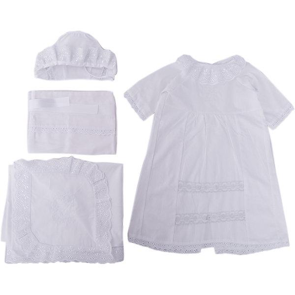 Крестильный набор для девочки, р-р 62, Сонный гномик, белый