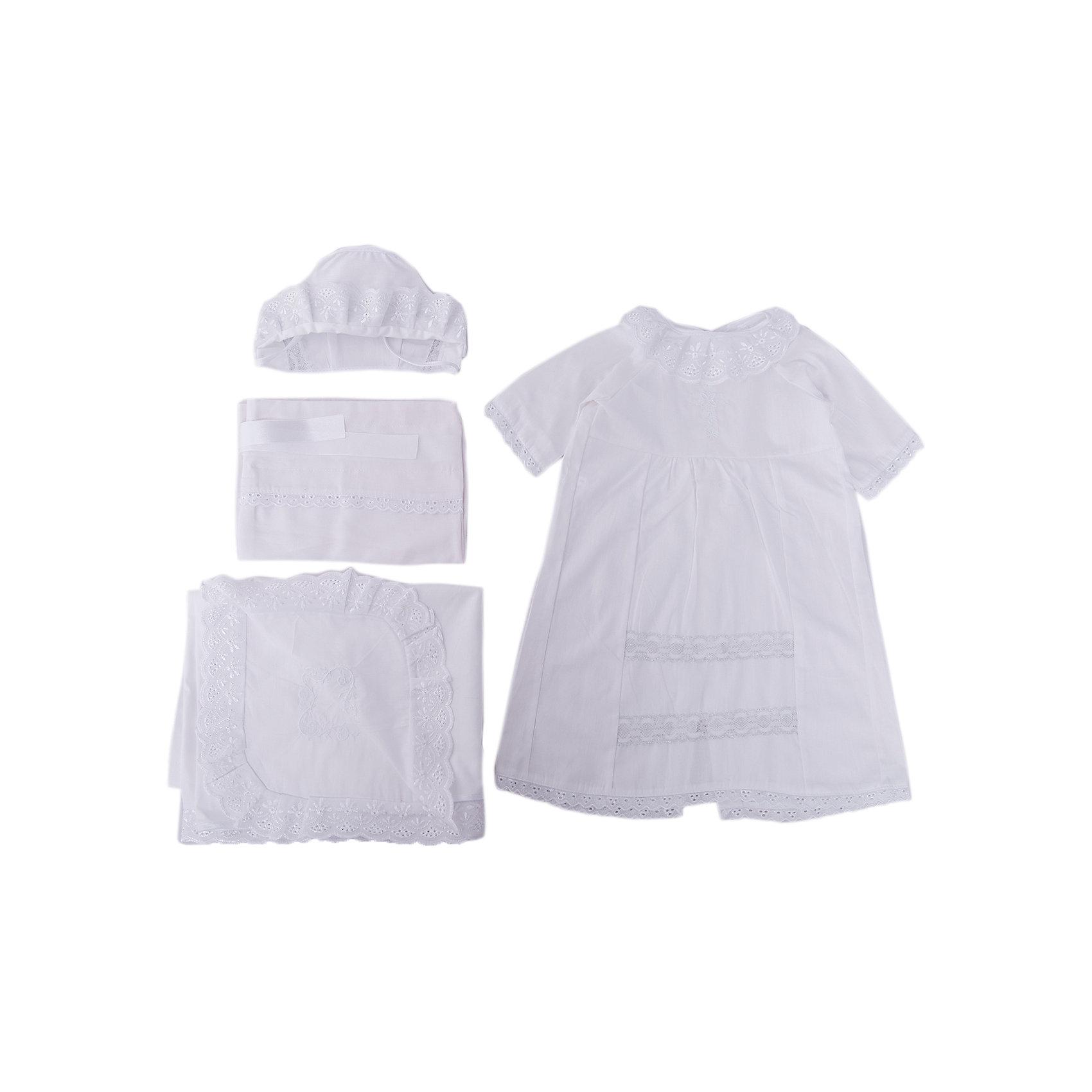 Крестильный набор для девочки, р-р 62, Сонный гномик, белыйКрестильные наборы<br>Обряд крещения является духовным рождением человека. Для данного обряда необходимо иметь крестильную рубашку и чепчик, а также, крыжму, чтобы завернуть малышку после купели. Набор «Сонный гномик» для крещения девочки включает в себя необходимые аксессуары. <br><br>Крестильная рубашка украшена выбитым орнаментом на воротничке, рукавчиках, по подолу изделия. Имеется драпировка, которая также окаймлена выбитым орнаментом. Застегивается крестильная рубашка на кнопку, которая находится сзади. <br><br>Чепчик украшен цветочным орнаментом, имеются завязки.<br><br>В качестве крыжмы используется хлопковая пеленка прямоугольной формы, по краям украшенная вышивкой, в уголке имеется вышитый крестик. <br><br>Дополнительным аксессуаром является мешочек для хранения состриженных волосиков малыша. Мешочек украшен вышивкой, стягивается у основания и завязывается атласной лентой. <br><br>Дополнительная информация:<br><br>Размер платья: 62<br>Размер чепчика: 36<br>Размер пеленки: 115х90 см<br>Размер мешочка: 35х23 см<br><br>Материал: сатин (100% хлопок)<br><br>Комплектация крестильного набора для девочки:<br><br>• платье;<br>• чепчик;<br>• пеленка;<br>• мешочек.<br><br>Крестильный набор для девочки, р-р 62, Сонный гномик, белый можно купить в нашем интернет-магазине.<br><br>Ширина мм: 350<br>Глубина мм: 250<br>Высота мм: 350<br>Вес г: 330<br>Возраст от месяцев: 0<br>Возраст до месяцев: 3<br>Пол: Женский<br>Возраст: Детский<br>SKU: 5016510