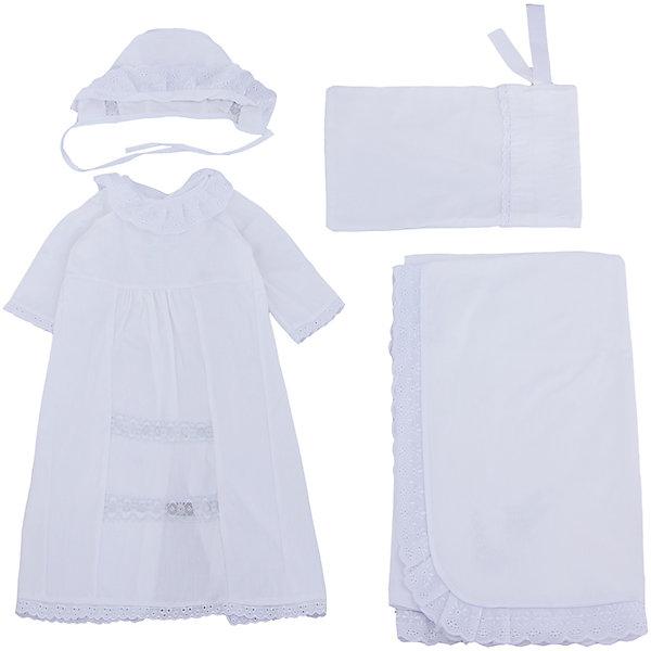 Крестильный набор для девочки, р-р 68, Сонный гномик, белый