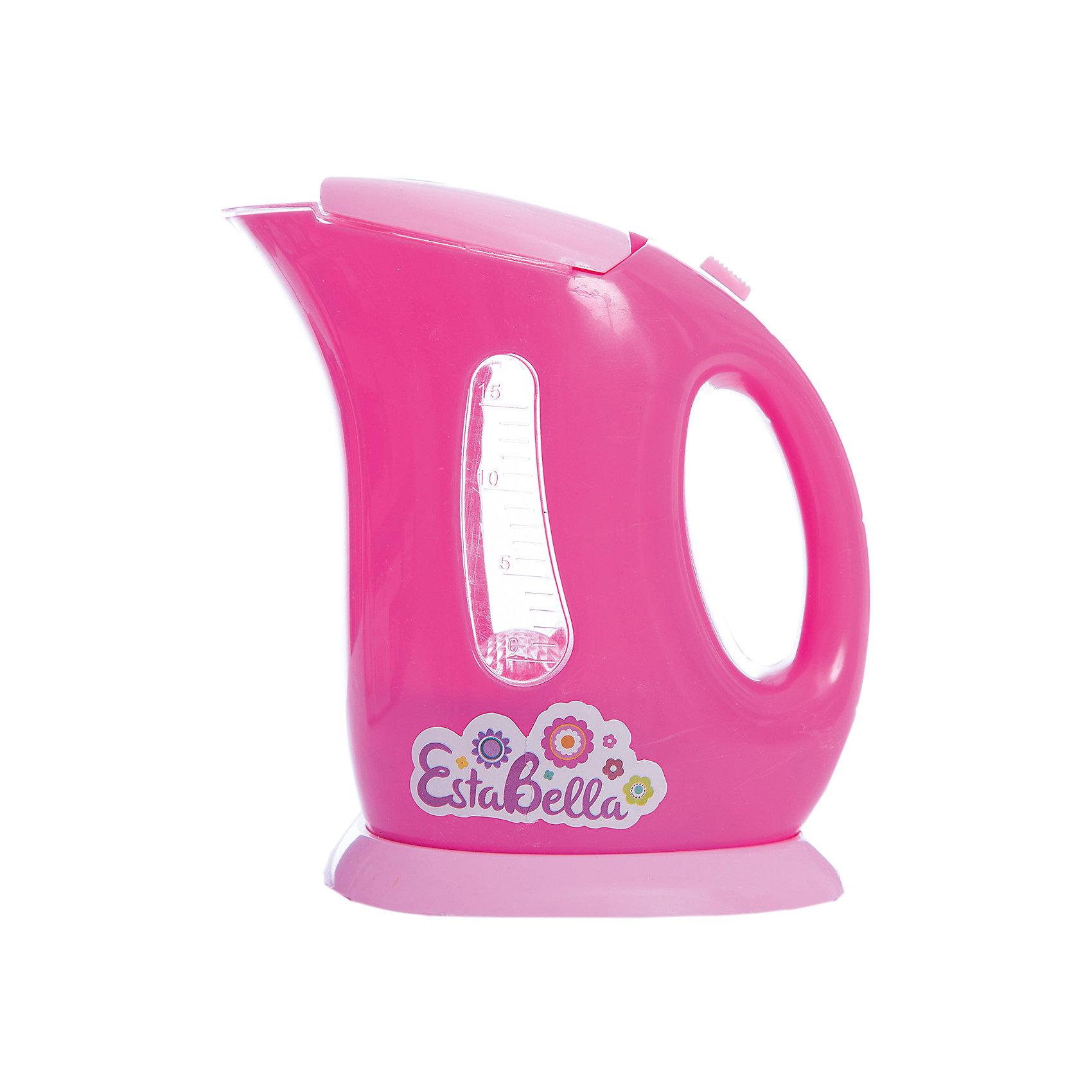 Игрушка Чайник электрический, EstaBellaИгрушка Чайник электрический, EstaBella (Эстабелла).<br><br>Характеристики:<br><br>• световые и звуковые эффекты<br>• полностью безопасен для ребенка<br>• требуются батарейки<br>• материал: пластик<br>• вес: 250 грамм<br>• размер упаковки: 15х8х16 см<br><br>С помощью чайника EstaBella (Эстабелла) девочка сможет угостить свои игрушки вкусным чаем. Игрушка имеет световые и звуковые эффекты, которые обеспечат максимальную реалистичность во время игры. Чайник полностью безопасен для ребенка. С этой игрушкой кукольные чаепития пройдут очень весело!<br><br>Вы можете купить игрушку Чайник электрический, EstaBella (Эстабелла) в нашем интернет-магазине.<br><br>Ширина мм: 160<br>Глубина мм: 80<br>Высота мм: 150<br>Вес г: 250<br>Возраст от месяцев: 36<br>Возраст до месяцев: 120<br>Пол: Женский<br>Возраст: Детский<br>SKU: 5017655