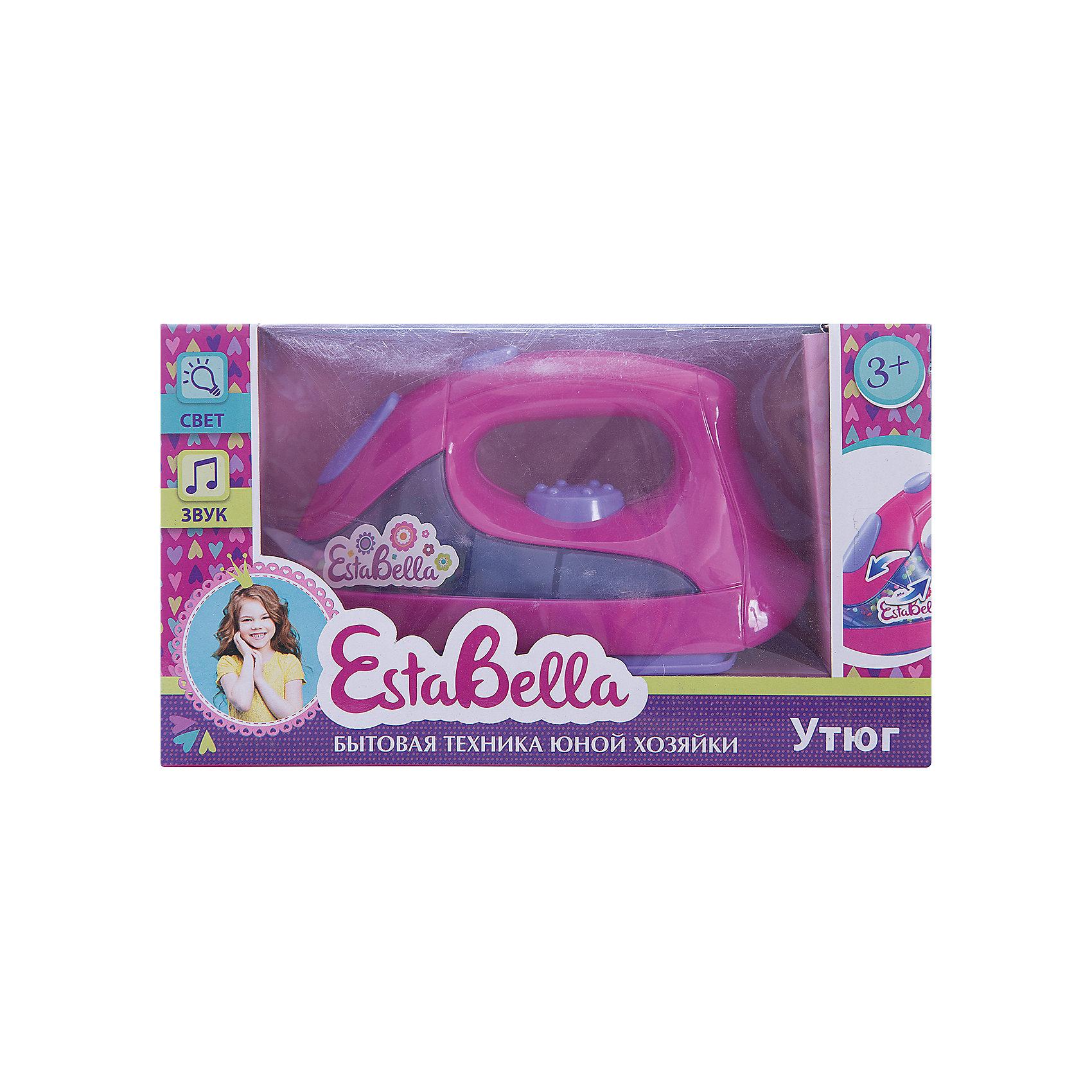 Игрушка Утюг DeLuxe , EstaBellaИгрушечная бытовая техника<br>Игрушка Утюг DeLuxe, EstaBella (Эстабелла).<br><br>Характеристики:<br><br>• световые и звуковые эффекты<br>• полностью безопасен для ребенка<br>• материал: пластик<br>• вес: 255 грамм<br>• размер упаковки: 13х9х22 см<br><br>Утюг EstaBella (Эстабелла) - копия настоящего утюга. Он имеет несколько кнопок и удобную для ребенка ручку. Яркие лампочки, забавные мелодии и различные программы сделают игру еще более интереснее! После этой игрушки девочка с радостью будет помогать маме гладить.<br><br>Вы можете купить игрушку Утюг DeLuxe, EstaBella (Эстабелла) в нашем интернет-магазине.<br><br>Ширина мм: 220<br>Глубина мм: 90<br>Высота мм: 130<br>Вес г: 255<br>Возраст от месяцев: 36<br>Возраст до месяцев: 120<br>Пол: Женский<br>Возраст: Детский<br>SKU: 5017657
