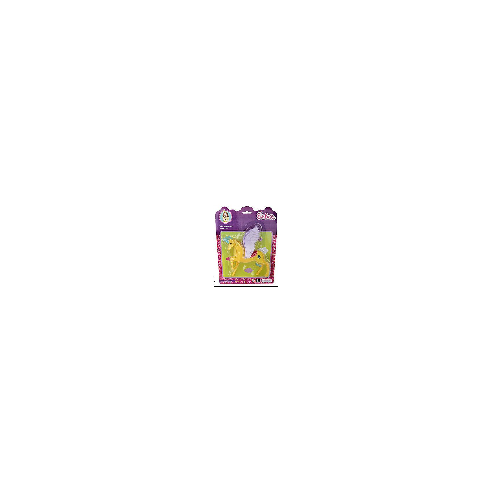 Игрушка Мой крылатый единорог 2, EstaBellaМир животных<br>Игрушка Мой крылатый единорог 2, EstaBella (Эстабелла).<br><br>Характеристики:<br><br>• приятный дизайн<br>• выполнена из нетоксичных материалов<br>• материал: пластик<br>• размер упаковки: 20х3х25 см<br>• вес: 105 грамм<br><br>Мой крылатый единорог - очаровательная игрушка для любительниц волшебства. Единорог окрашен в яркий цвет, имеет огромные крылья, способные поднять в воздух куклу, которая может поместиться в уютном седле. Игрушка подойдет для сюжетно-ролевых игр и поможет развить фантазию. Этот единорог откроет девочке мир волшебства и фантазии!<br><br>Вы можете купить игрушку Мой крылатый единорог 2, EstaBella (Эстабелла) в нашем интернет-магазине.<br><br>Ширина мм: 250<br>Глубина мм: 30<br>Высота мм: 200<br>Вес г: 105<br>Возраст от месяцев: 36<br>Возраст до месяцев: 120<br>Пол: Женский<br>Возраст: Детский<br>SKU: 5017659