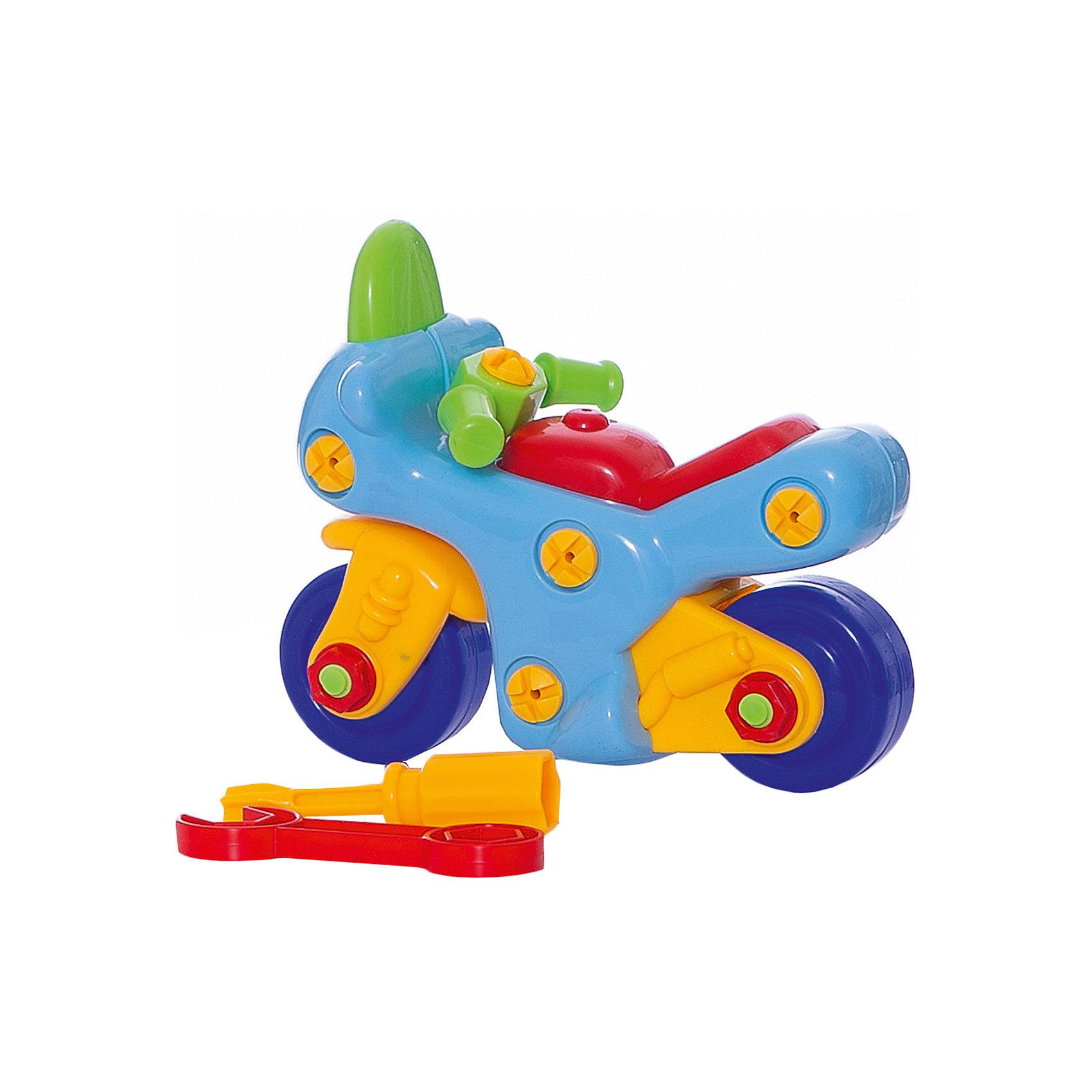 Конструктор Мотоцикл (с отверткой и ключом), KriblyBooПластмассовые конструкторы<br>Конструктор Мотоцикл (с отверткой и ключом), KriblyBoo (Крибли Бу).<br><br><br>Характеристики:<br><br>• яркие цвета<br>• безопасен для ребенка<br>• материал: пластик<br>• размер упаковки: 7х13х16 см<br>• вес: 260 грамм<br><br>Конструктор Мотоцикл станет прекрасным подарком начинающим строителям. В процессе игры ребенку предстоит собрать (или даже разобрать) красочный мотоцикл с помощью отвертки и ключа. Такая игра хорошо развивает усидчивость и мелкую моторику. Маленький механик с гордостью похвастается собранным мотоциклом!<br><br>Конструктор Мотоцикл (с отверткой и ключом), KriblyBoo (Крибли Бу) вы можете купить в нашем интернет-магазине.<br><br>Ширина мм: 160<br>Глубина мм: 130<br>Высота мм: 70<br>Вес г: 260<br>Возраст от месяцев: 36<br>Возраст до месяцев: 120<br>Пол: Мужской<br>Возраст: Детский<br>SKU: 5017665
