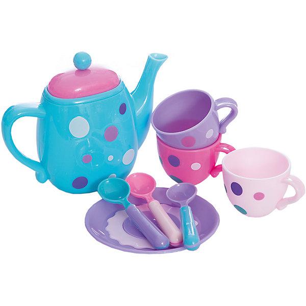 Набор посудки Время для чая, MeLaLaДетские кухни<br>Набор посудки Время для чая, MeLaLa.<br><br>Характеристики:<br><br>• приятный дизайн<br>• набор полностью безопасен для ребенка<br>• материал: пластик <br>• в комплекте: 3 кружки, блюдце, 3 ложечки, чайник<br>• размер упаковки: 20х6х28 см<br>• вес: 230 грамм<br><br>Время для чая - восхитительный набор игрушечной посуды. Девочка сможет угостить игрушки чаем и печеньем. Настоящий десерт можно положить на тарелку и предложить девочке угостить подружек. Вся посуда, входящая в комплект, изготовлена из безопасного пластика и имеет приятный дизайн. Эта посуда отлично подойдет для веселого чаепития!<br><br>Набор посудки Время для чая, MeLaLa можно купить в нашем интернет-магазине.<br>Ширина мм: 280; Глубина мм: 60; Высота мм: 200; Вес г: 230; Возраст от месяцев: 36; Возраст до месяцев: 120; Пол: Женский; Возраст: Детский; SKU: 5017679;