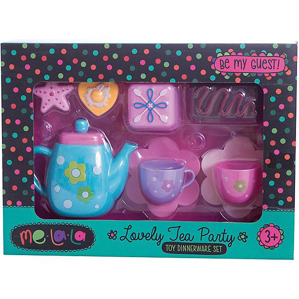 Набор посудки Чаепитие со сладостями, MeLaLaДетские кухни<br>Набор посудки Чаепитие со сладостями, MeLaLa.<br><br>Характеристики:<br><br>• яркий дизайн<br>• набор полностью безопасен для ребенка<br>• материал: пластик <br>• в комплекте: 2 кружки, 2 блюдца, чайник, 4 десерта<br>• размер упаковки: 20х6х28 см<br>• вес: 210 грамм<br><br>Наверное каждая девочка любит провести время за чашечкой чая со вкусным десертом. С помощью набора Чаепитие со сладостями девочка сможет устроить чаепитие с любимой куклой. В набор входит красочная посуда и очень привлекательные десерты. Все предметы изготовлены из нетоксичного пластика, безопасного для ребенка. С таким набором кукольные чаепития станут еще интереснее!<br><br>Набор посудки Чаепитие со сладостями, MeLaLa вы можете купить в нашем интернет-магазине.<br>Ширина мм: 280; Глубина мм: 60; Высота мм: 200; Вес г: 210; Возраст от месяцев: 36; Возраст до месяцев: 120; Пол: Женский; Возраст: Детский; SKU: 5017681;