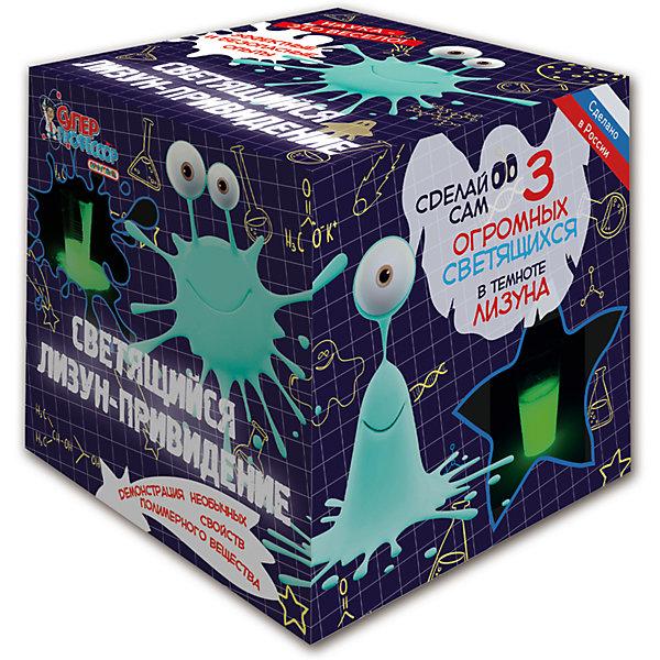 Игровой набор  «Светящийся лизун-привидение»Химия и физика<br>С данным набором ребенок сможет почувствовать себя настоящим ученым, смешивая и перемешивая разные вещества. В результате проведенного опыта на руках юного профессора окажутся целых 3 лизуна, которые еще и светятся в темноте. С этими игрушками ребенок сможет устраивать маленькие розыгрыши для своих родных или использовать их играх. Комплект: хим. реагенты, краситель, мерный стакан, стакан, перчатки, палочка для размешивания. Из чего сделана игрушка (состав): полимерные материалы, краситель, пластик.<br>Ширина мм: 120; Глубина мм: 120; Высота мм: 120; Вес г: 213; Возраст от месяцев: 96; Возраст до месяцев: 192; Пол: Унисекс; Возраст: Детский; SKU: 5018294;
