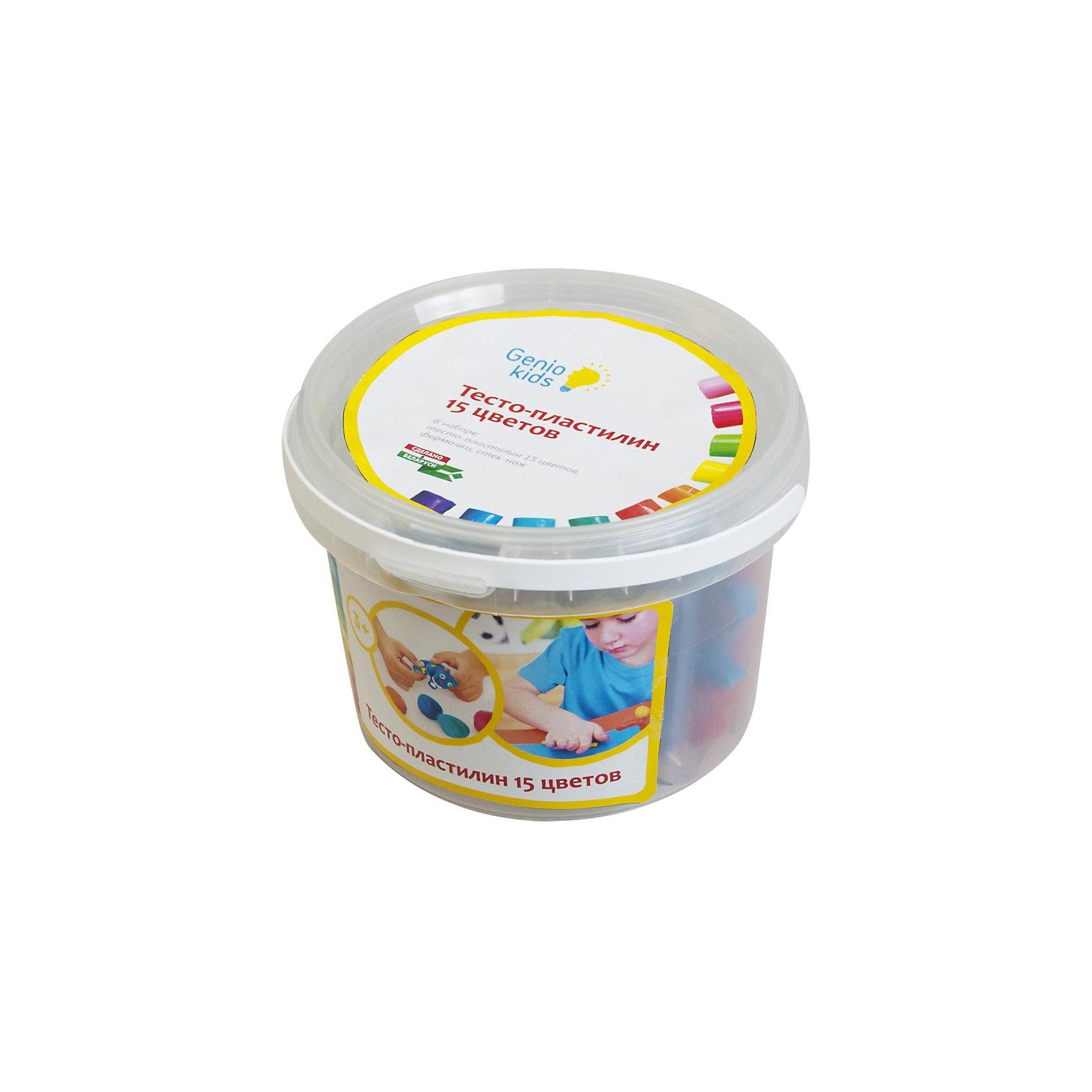 Набор для детской лепки Тесто-пластилин 15 цветовВ наборе:  разноцветное тесто-пластилин 15 цветов по 20 гр., формочки – 5 шт., стек-ножик – 1 шт.<br><br>Ширина мм: 145<br>Глубина мм: 135<br>Высота мм: 95<br>Вес г: 410<br>Возраст от месяцев: 36<br>Возраст до месяцев: 108<br>Пол: Унисекс<br>Возраст: Детский<br>SKU: 5018306