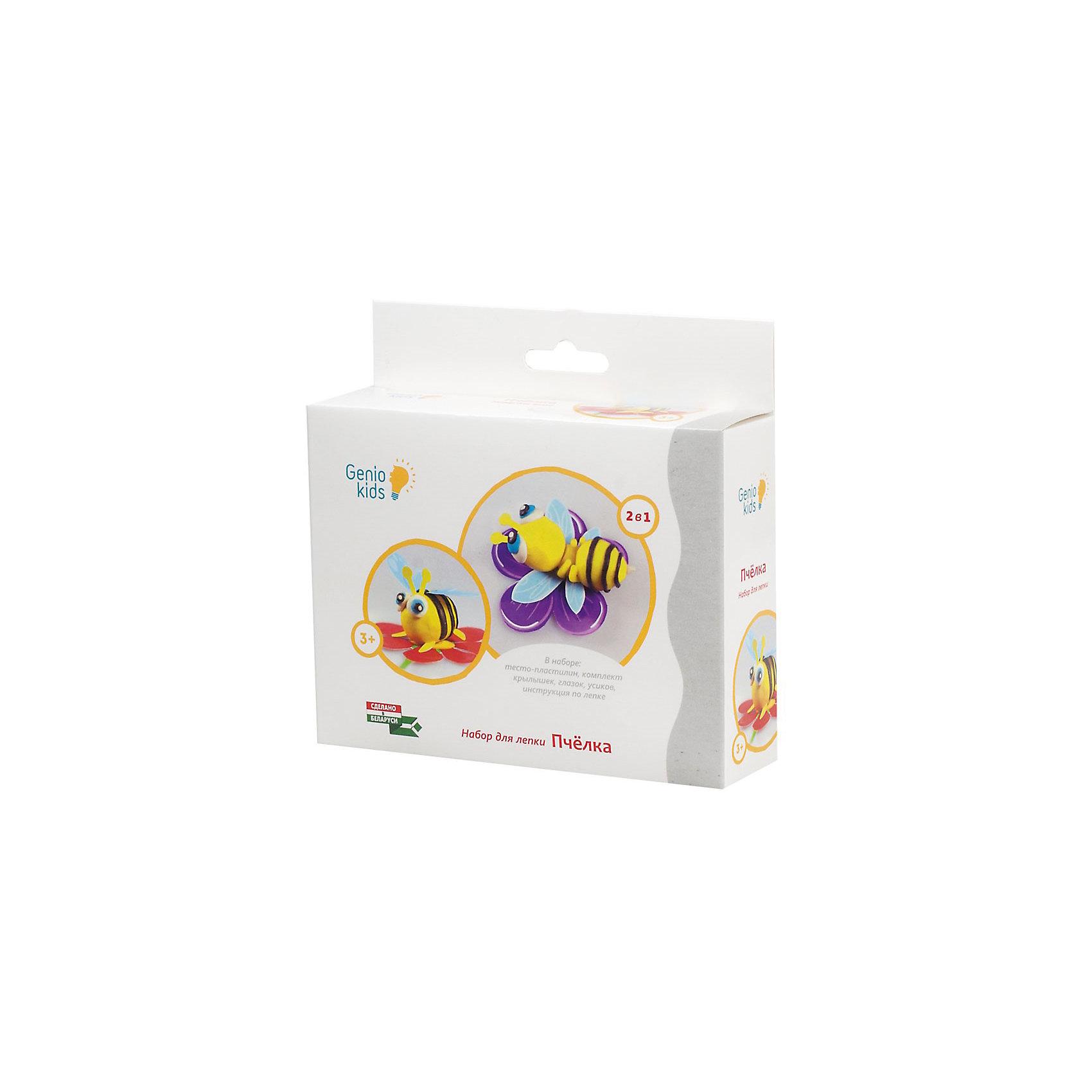 Набор для детского творчества ПчёлкаЛепка<br>Характеристики товара:<br><br>• упаковка: коробка<br>• комплектация: разноцветное тесто-пластилин, комплект крылышек усиков, глазок на картоне формат А6<br>• материал: пшеничная мука<br>• цветов: 5<br>• вес одного пакета с пластилином: 20 г<br>• возраст: от трех лет<br>• развивающая<br>• страна бренда: Беларусь<br>• страна производства: Беларусь<br><br>Лепка из пластилина - отличный способ занять ребенка. Это не только занимательно, но и очень полезно! С помощью такого набора для творчества ребенок сможет научиться делать фигурку пчелки с помощью инструкции, а дальше - делать более сложные предметы. Тесто-пластилин - это натуральный и безопасный маетриал из пшеничной муки. В комплекте - пластилин пяти расцветок и предметы для создания фигурки.<br>Такое занятие помогает детям развивать многие важные навыки и способности: они тренируют внимание, память, логику, мышление, мелкую моторику, а также усидчивость и аккуратность. Изделие производится из качественных сертифицированных материалов, безопасных даже для самых маленьких.<br><br>Набор для детского творчества Пчёлка от бренда Genio Kids можно купить в нашем интернет-магазине.<br><br>Ширина мм: 145<br>Глубина мм: 140<br>Высота мм: 40<br>Вес г: 150<br>Возраст от месяцев: 36<br>Возраст до месяцев: 108<br>Пол: Унисекс<br>Возраст: Детский<br>SKU: 5018315