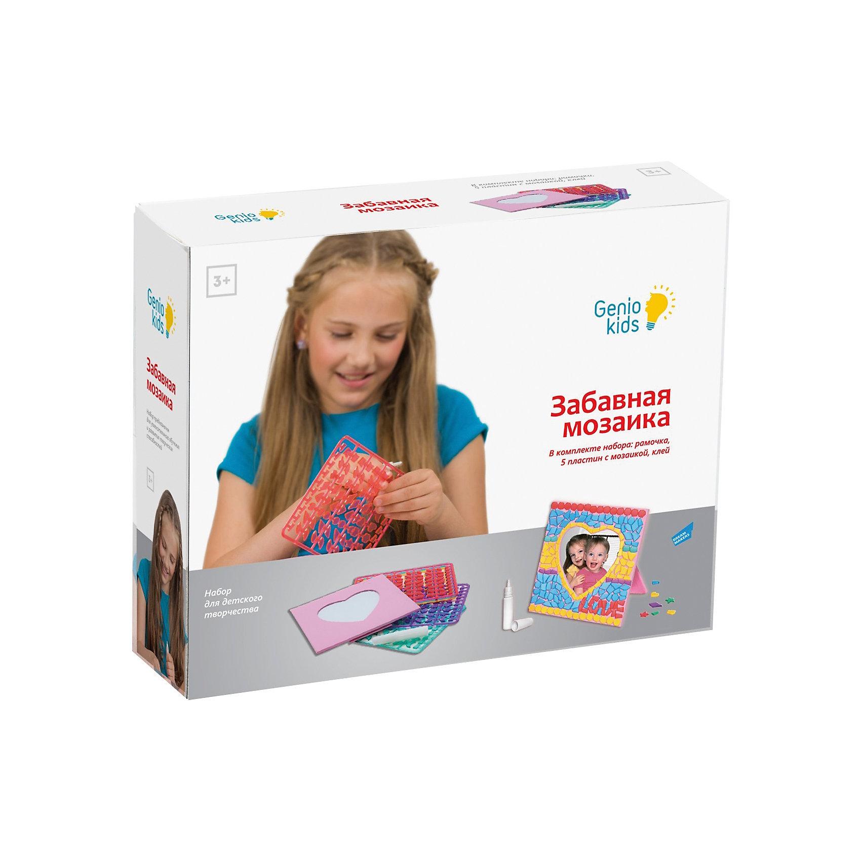 """Набор для детского творчества """"Забавная мозаика""""Мозаика детская<br>«Забавная мозаика» – это мозаика, элементы которой необходимо приклеивать к картонной фоторамке-основе с помощью клея. В результате работы с данным набором ребенок создаст фоторамку, в которую можно разместить любимую фотографию. Наборы мозаики направлены на развитие различных навыков: мелкой моторики, внимательности, аккуратности, усидчивости, творческого мышления. Для детей младшего возраста – закрепление цветов и их оттенков, изучение геометрических форм. Комплектность набора: 1 картонная фоторамка-основа, 5 пластин с пластиковыми элементами мозаики (оранжевого, зеленого, синего, фиолетового и розового цветов), 1 тюбик с клеем, инструкция.<br><br>Ширина мм: 210<br>Глубина мм: 70<br>Высота мм: 260<br>Вес г: 333<br>Возраст от месяцев: 36<br>Возраст до месяцев: 108<br>Пол: Женский<br>Возраст: Детский<br>SKU: 5018331"""