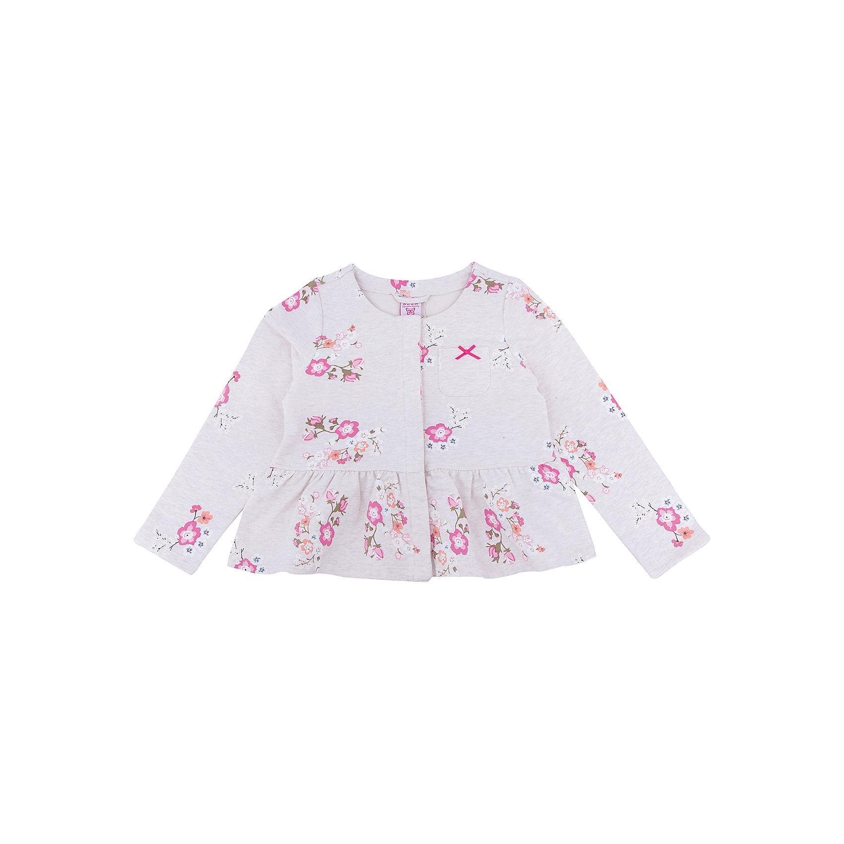 Жакет для девочки SELAВерхняя одежда<br>Жакет для девочки SELA<br><br>Характеристики:<br><br>• Цвет бежевый.<br>• Рукав длинный.<br>• Силуэт прямой.<br>• Состав: 95% хлопок, 5% эластан.<br><br><br>Симпатичный жакет для девочки от признанного лидера по созданию коллекций одежды в стиле casual - SELA. Стильный жакет из хлопкового трикотажа бежевого цвета украшен стильным цветочным принтом . Натуральный хлопок в составе изделия делает его дышащим, приятным на ощупь и гипоаллергенным. С таким жакетом можно создать много разных ансамблей - одинаково хорошо будет смотреться и нарядная юбочка и классические джинсы.<br><br>Жакет для девочки SELA, можно купить в нашем интернет - магазине.<br><br>Ширина мм: 190<br>Глубина мм: 74<br>Высота мм: 229<br>Вес г: 236<br>Цвет: бежевый<br>Возраст от месяцев: 24<br>Возраст до месяцев: 36<br>Пол: Женский<br>Возраст: Детский<br>Размер: 98,116,110,104<br>SKU: 5020192