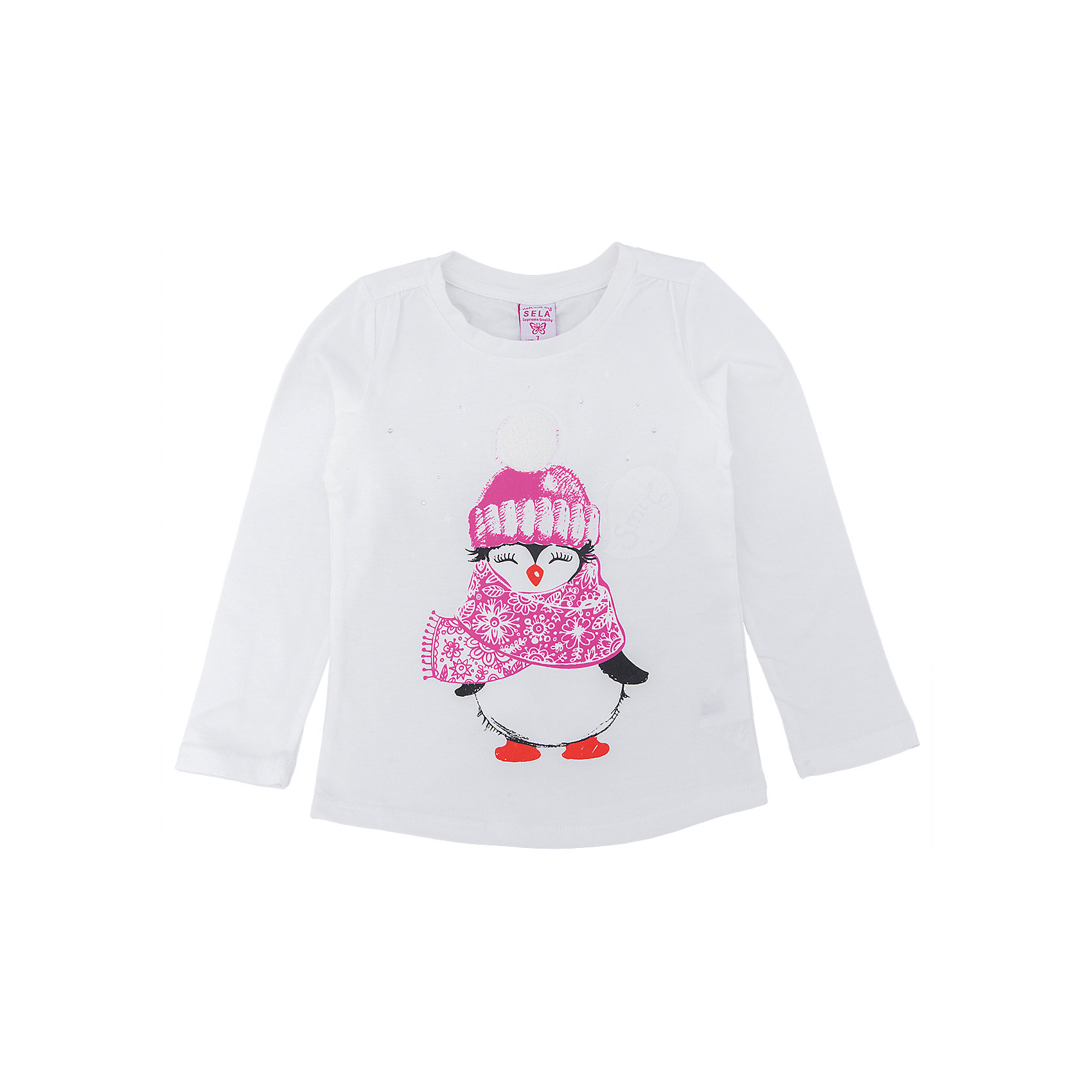 Футболка с длинным рукавом для девочки SELAФутболки с длинным рукавом<br>Стильная футболка - незаменимая вещь в прохладное время года. Эта модель отлично сидит на ребенке, она сделана из приятного на ощупь материала, мягкая и дышащая. Натуральный хлопок в составе ткани не вызывает аллергии и обеспечивает ребенку комфорт. Модель станет отличной базовой вещью, которая будет уместна в различных сочетаниях.<br>Одежда от бренда Sela (Села) - это качество по приемлемым ценам. Многие российские родители уже оценили преимущества продукции этой компании и всё чаще приобретают одежду и аксессуары Sela.<br><br>Дополнительная информация:<br><br>материал: 100 % хлопок;<br>длинный рукав;<br>украшен принтом.<br><br>Футболку для девочки от бренда Sela можно купить в нашем интернет-магазине.<br><br>Ширина мм: 190<br>Глубина мм: 74<br>Высота мм: 229<br>Вес г: 236<br>Цвет: белый<br>Возраст от месяцев: 60<br>Возраст до месяцев: 72<br>Пол: Женский<br>Возраст: Детский<br>Размер: 116,92,98,104,110<br>SKU: 5020355